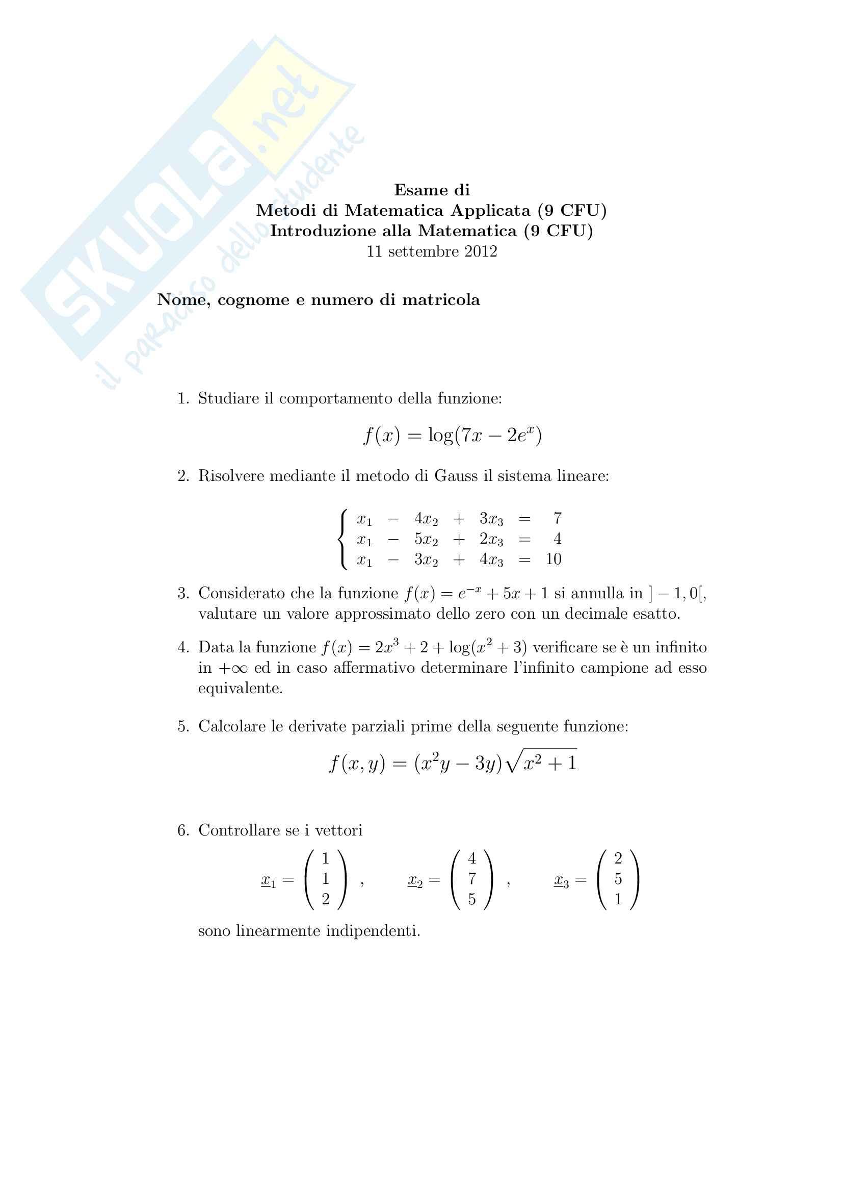 Esercitazioni metodi di matematica applicata