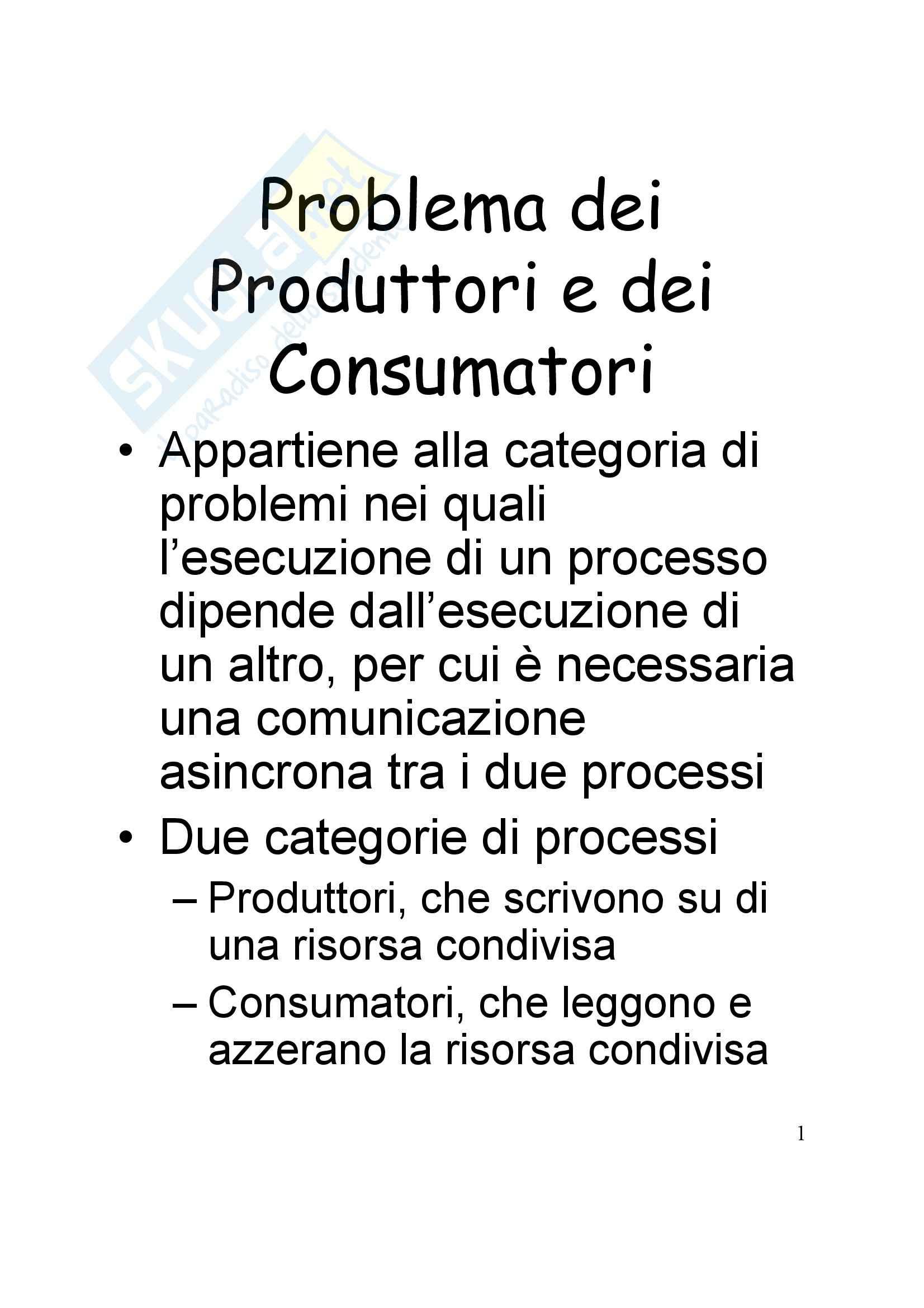 Sistemi operativi - Problema dei produttori e dei consumatori