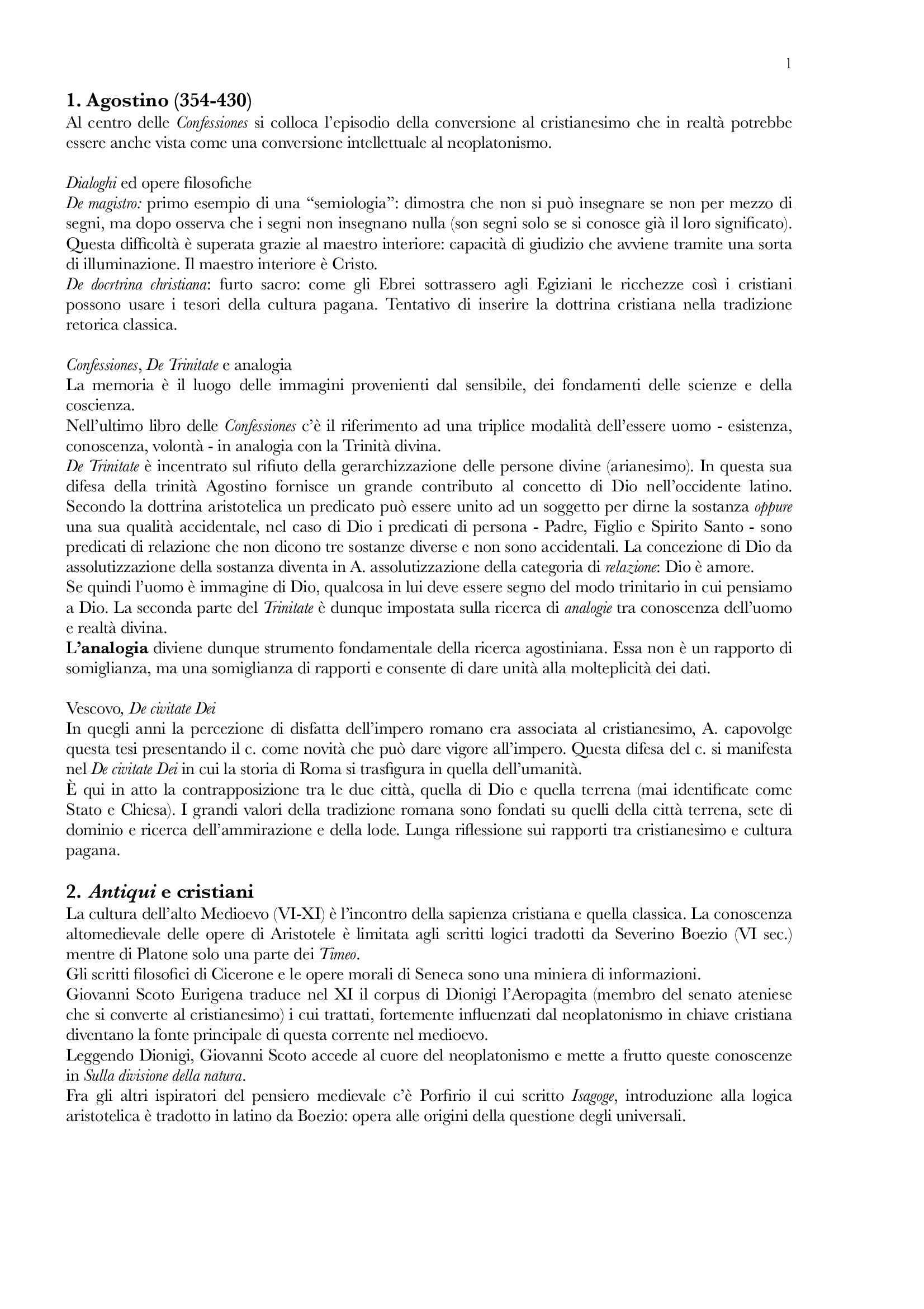Riassunto esame Storia della filosofia medievale, prof. Fedriga, libro consigliato Luoghi e voci del pensiero medievale, F B Broccieri