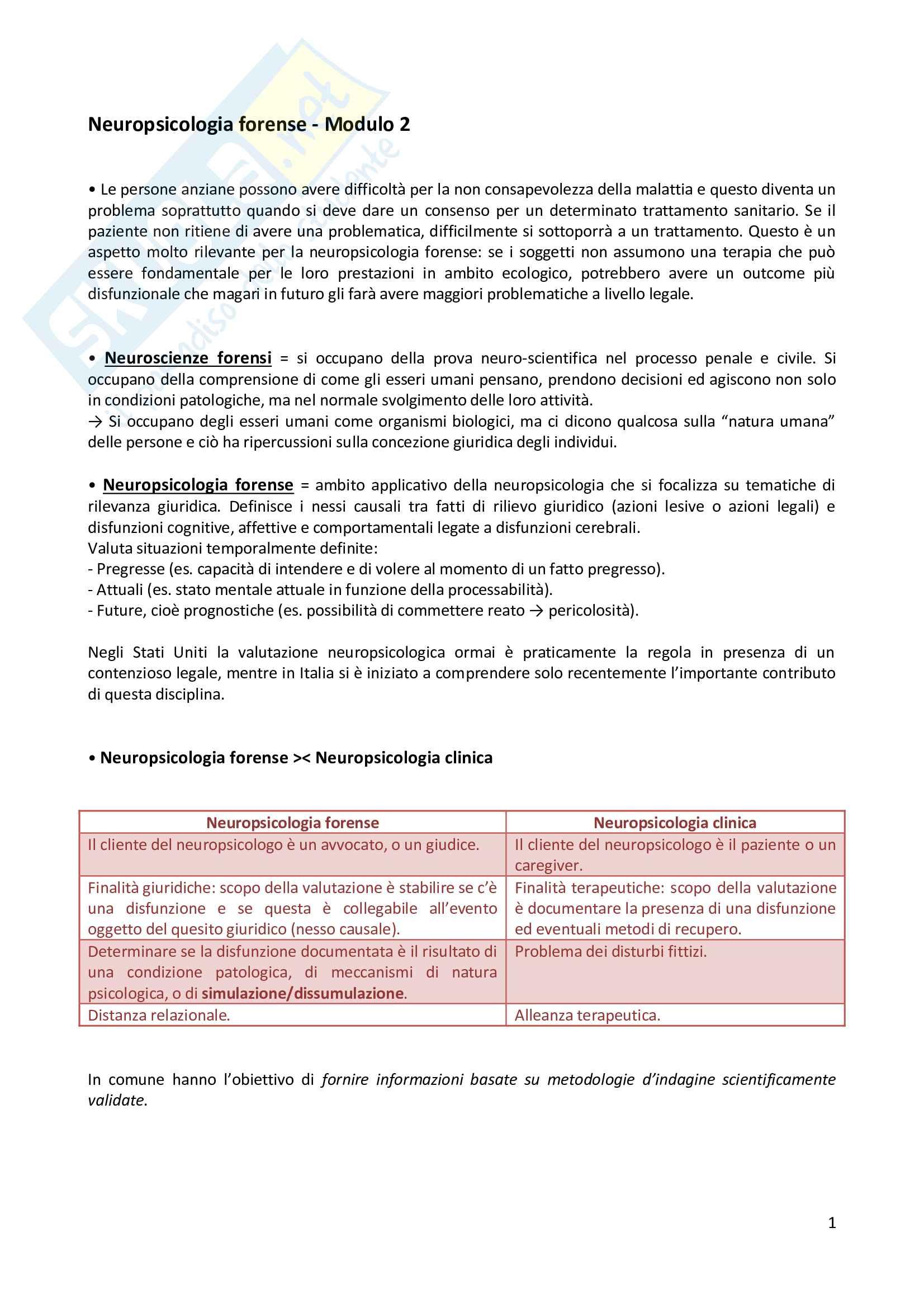 Neuropsicologia forense - Modulo 2