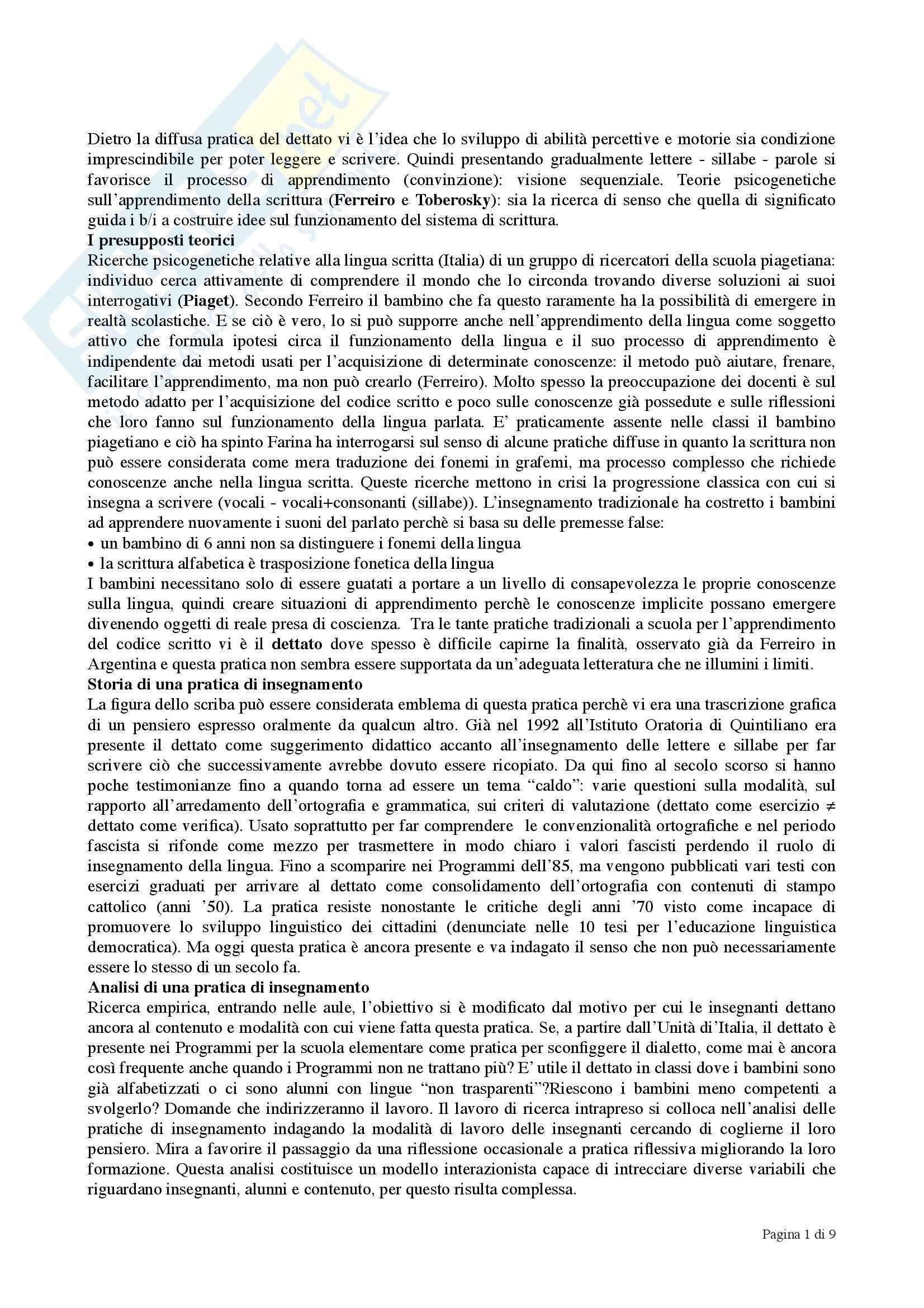 Riassunto esame Didattica della lettura, prof. Teruggi, libro consigliato Il dettato nella scuola primaria, Farina