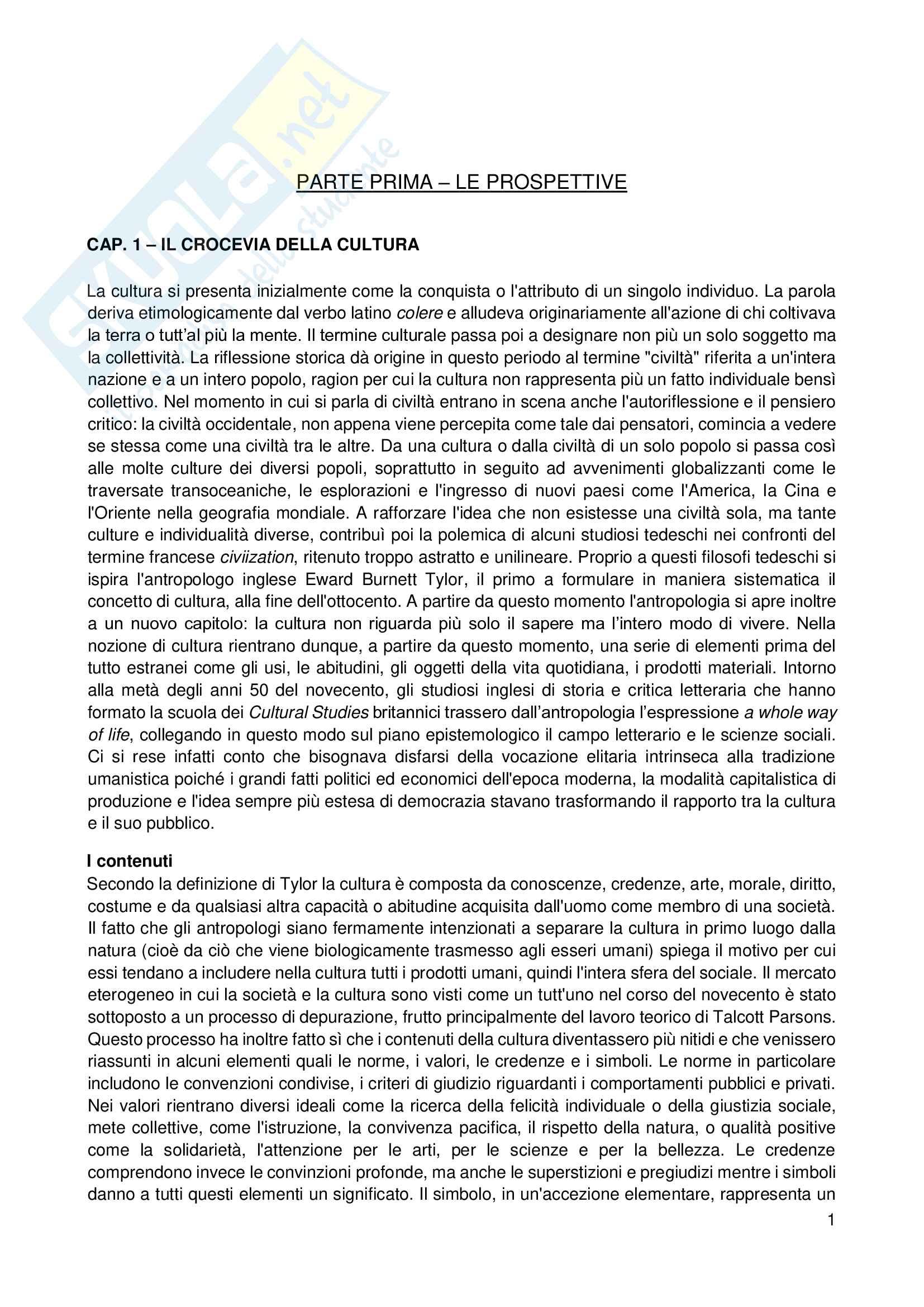 Riassunto esame Sociologia, prof. Scardigno, libro consigliato Il Gioco della Cultura, Piccone Pag. 1
