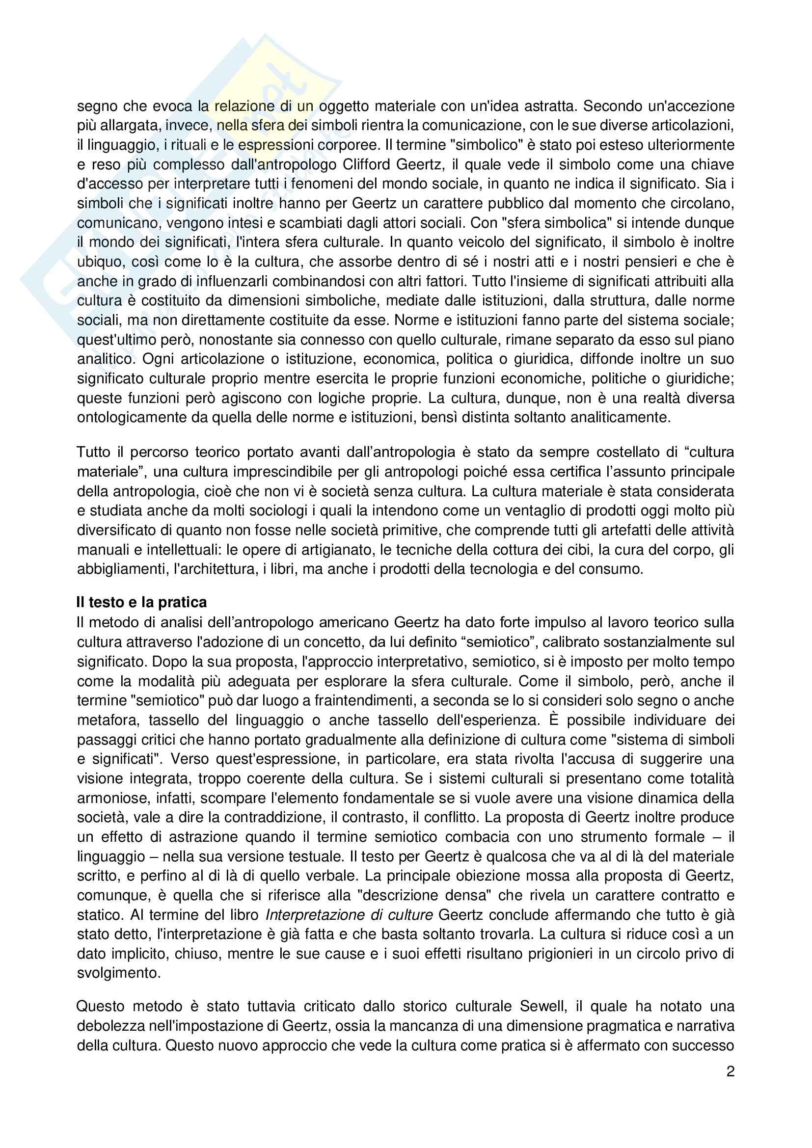 Riassunto esame Sociologia, prof. Scardigno, libro consigliato Il Gioco della Cultura, Piccone Pag. 2