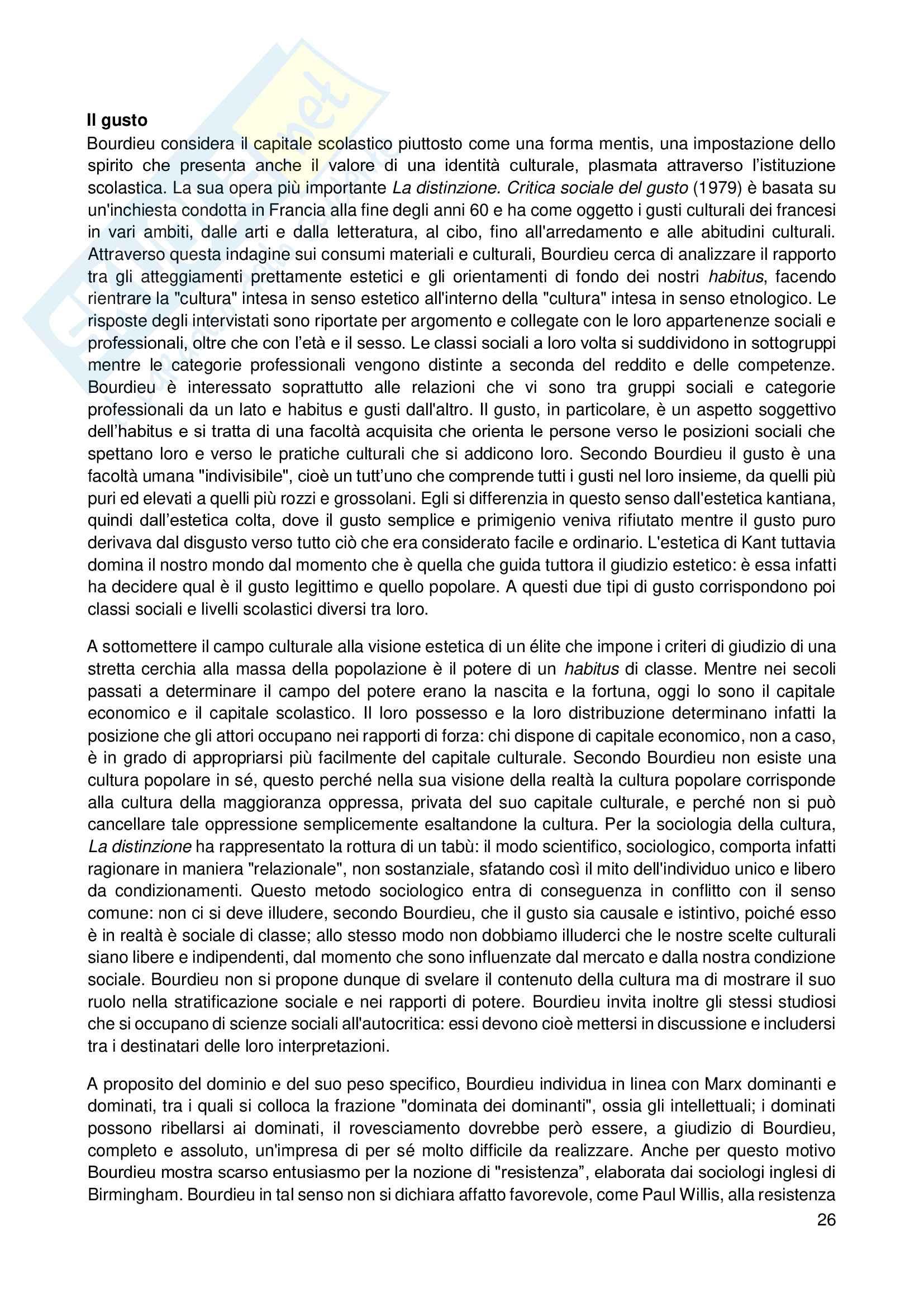 Riassunto esame Sociologia, prof. Scardigno, libro consigliato Il Gioco della Cultura, Piccone Pag. 26