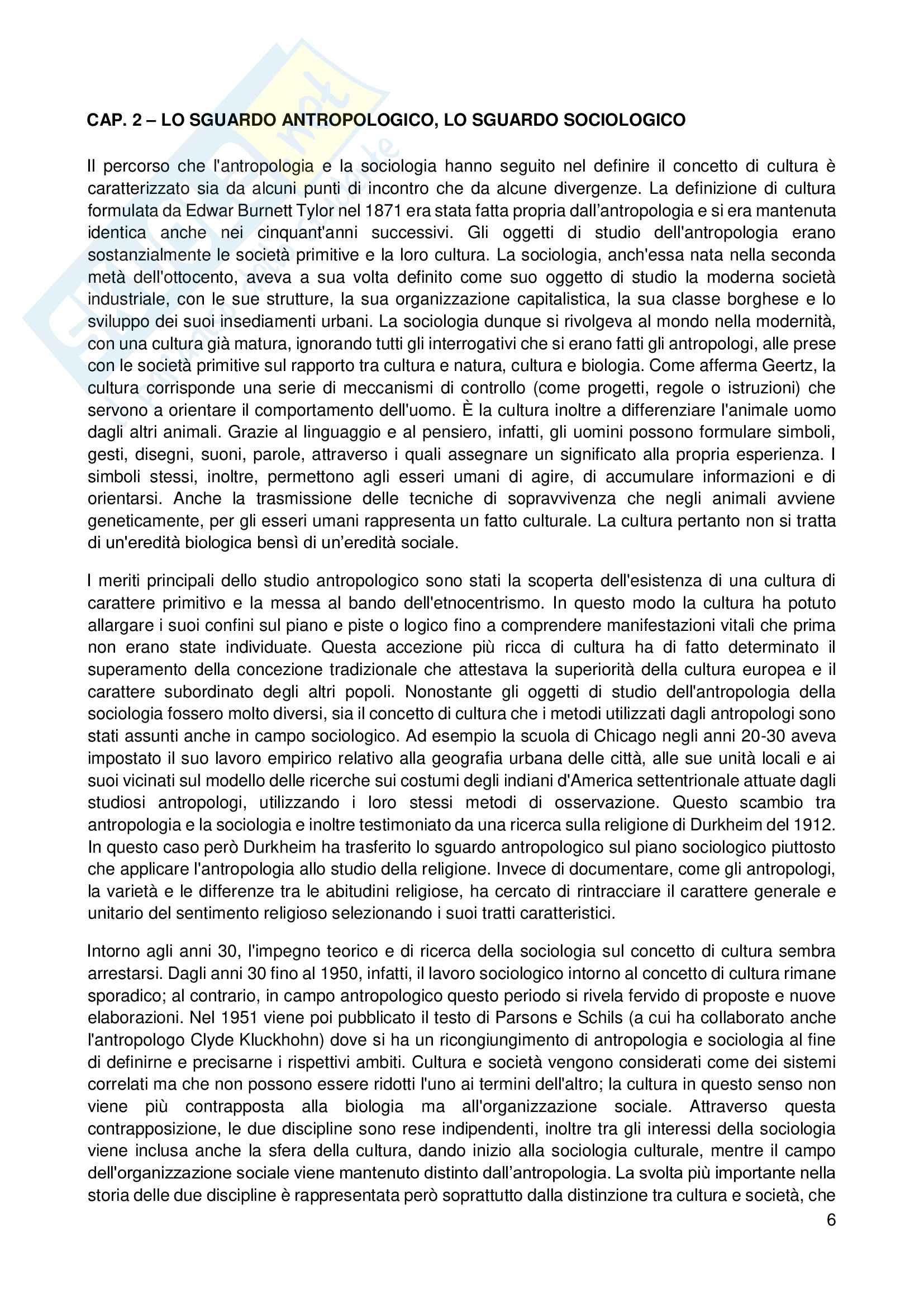 Riassunto esame Sociologia, prof. Scardigno, libro consigliato Il Gioco della Cultura, Piccone Pag. 6