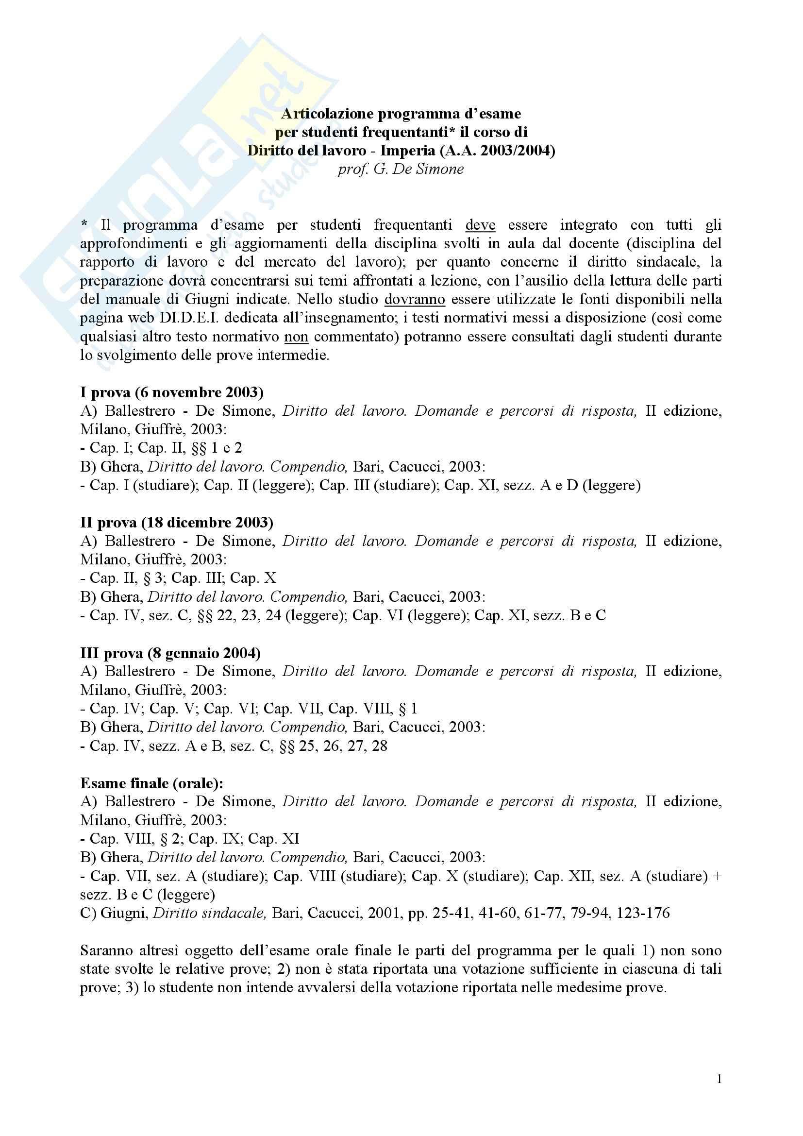 Diritto del lavoro, appunti De Simone