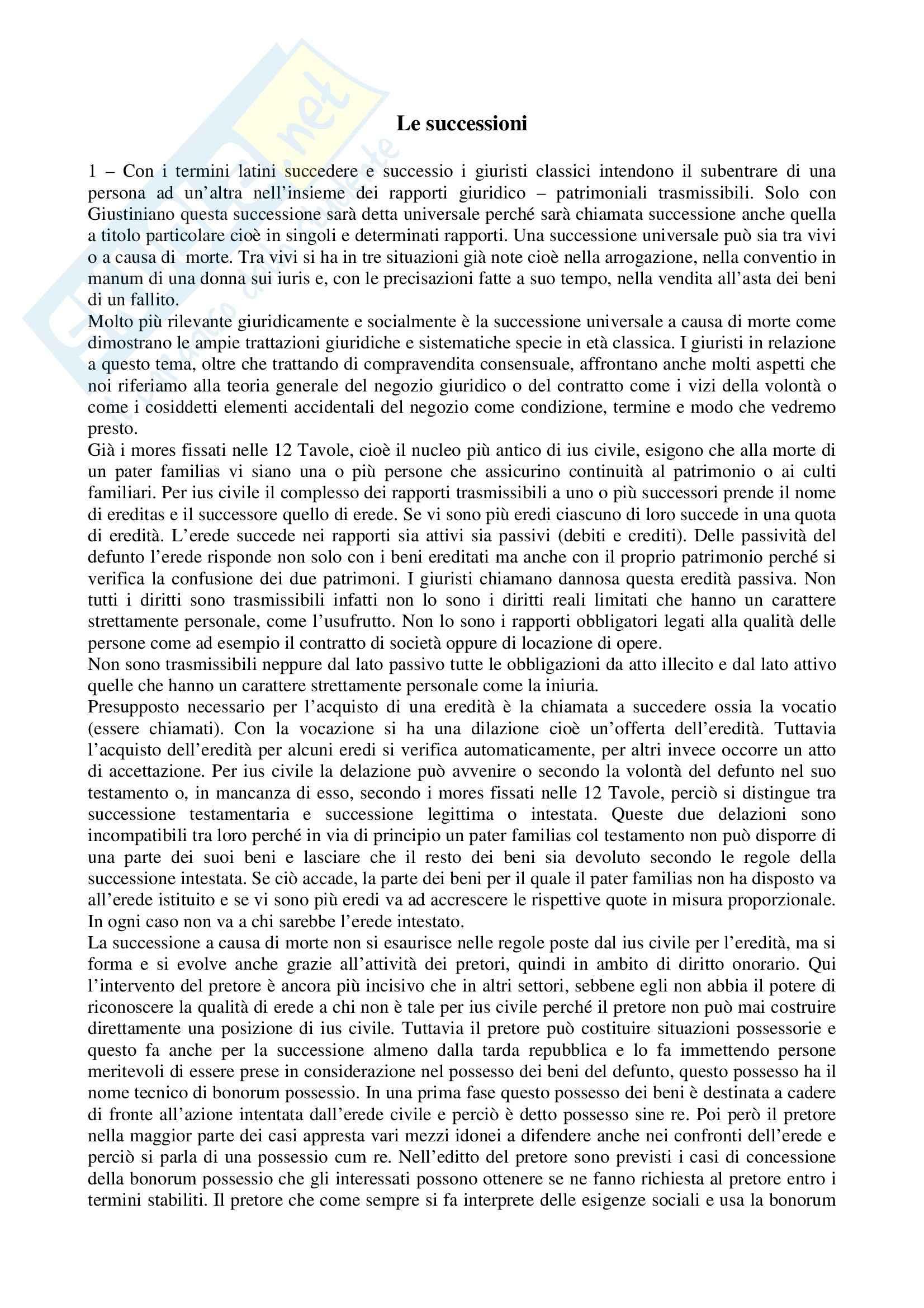 Diritto romano - le successioni