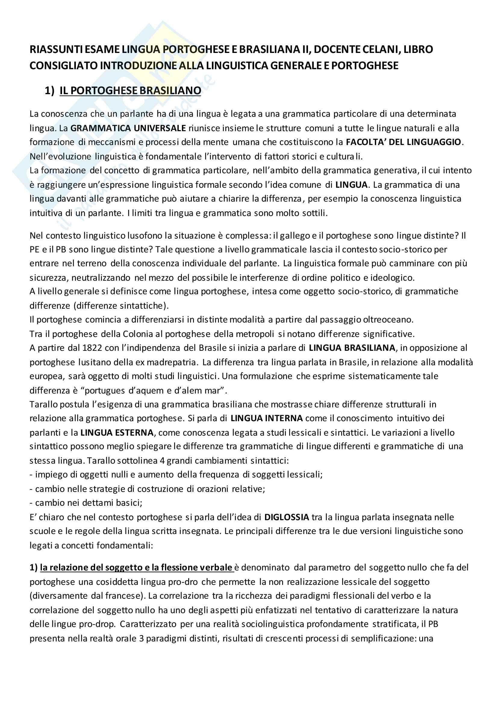 Riassunti esame lingua portoghese e brasiliana II, docente Celani, libro consigliato Introduzione alla linguistica generale e portoghese