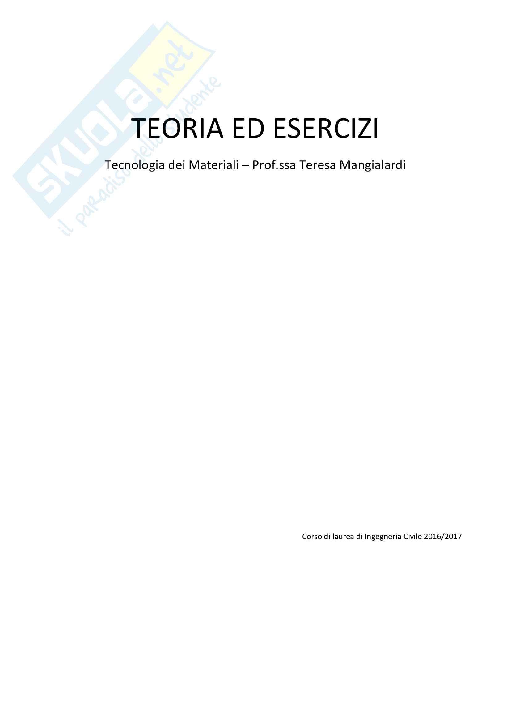 Tutte le lezioni trascritte - Tecnologia dei Materiali - TEORIA ed ESERCIZI Pag. 1