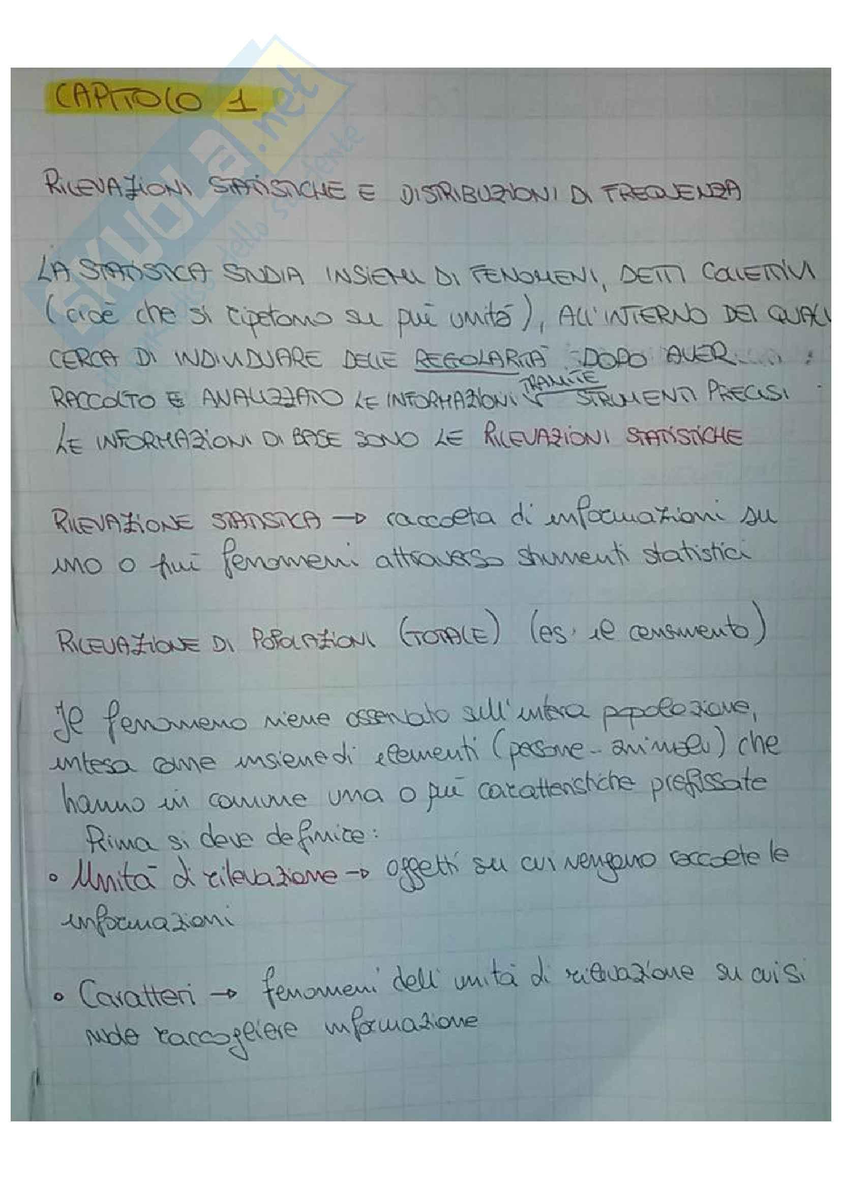 Riassunto esame statistica, docente Giordano, libro consigliato Introduzione alla statistica per le applicazioni economiche (volume 1 e 2), Cosimo D. Vitale