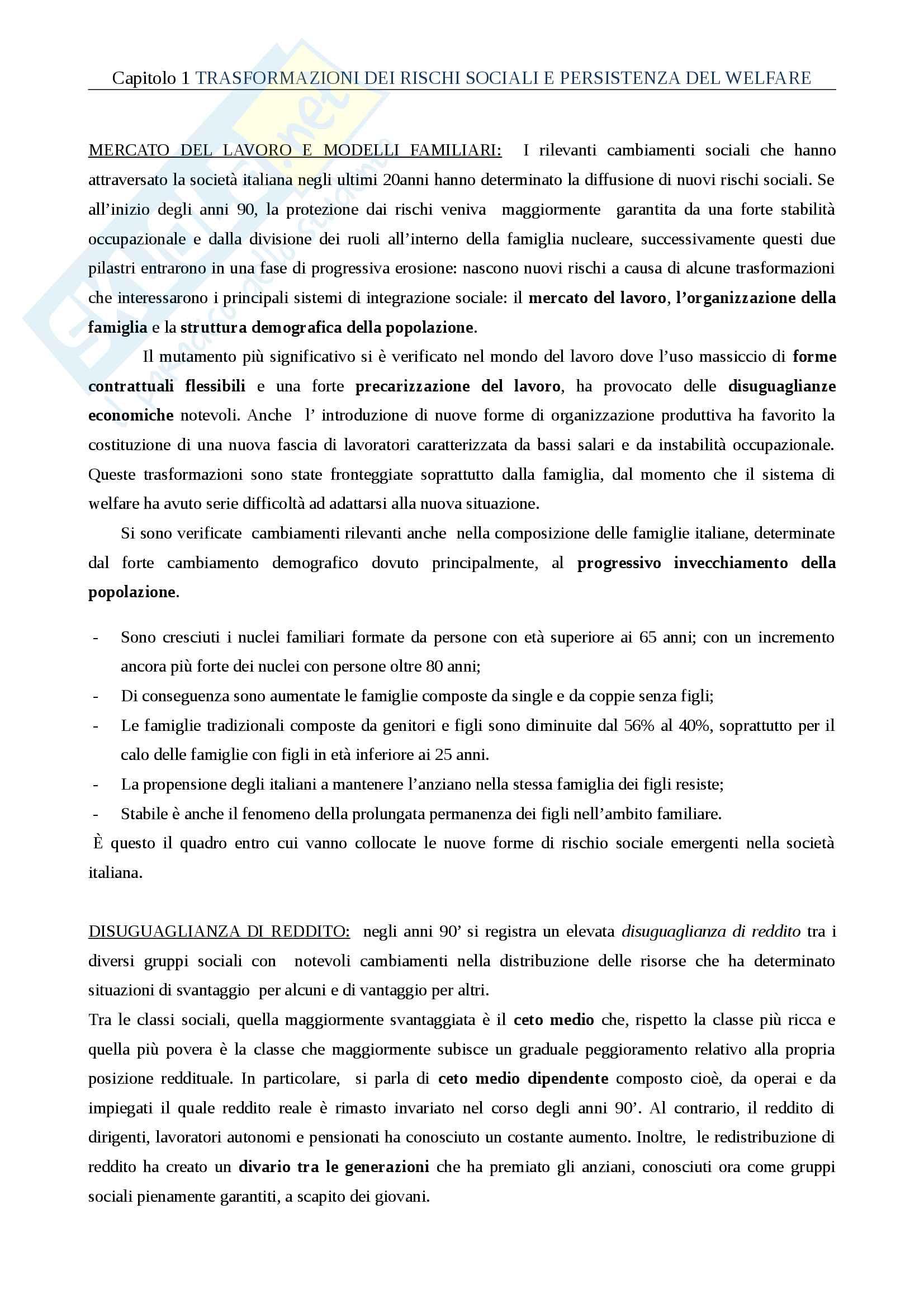 Riassunto esame Politiche sociali, prof. Fantozzi , libro consigliato Il welfare in Italia, Ascoli U.