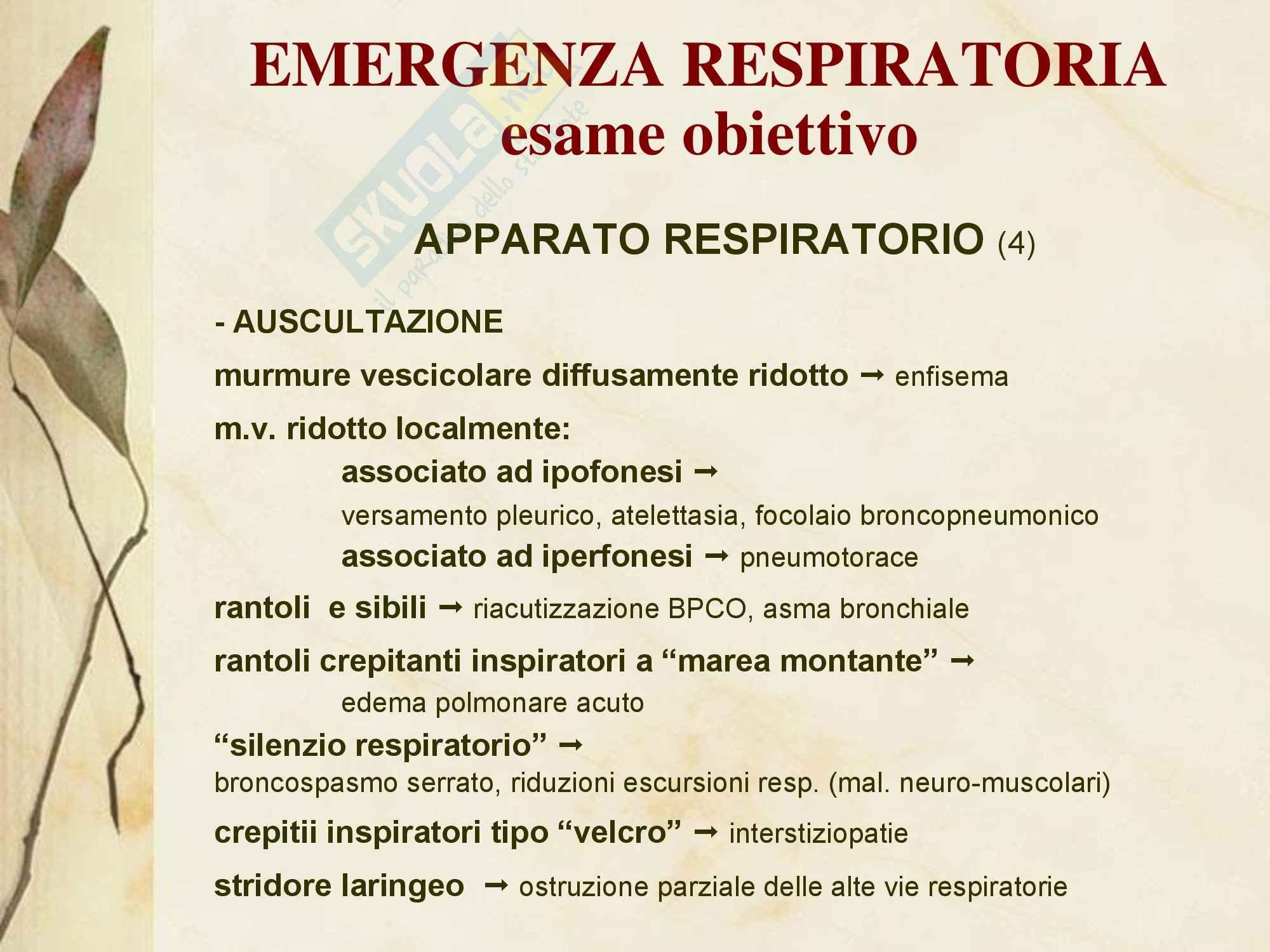 Malattie dell'apparato respiratorio - Emergenza Respiratoria Pag. 11