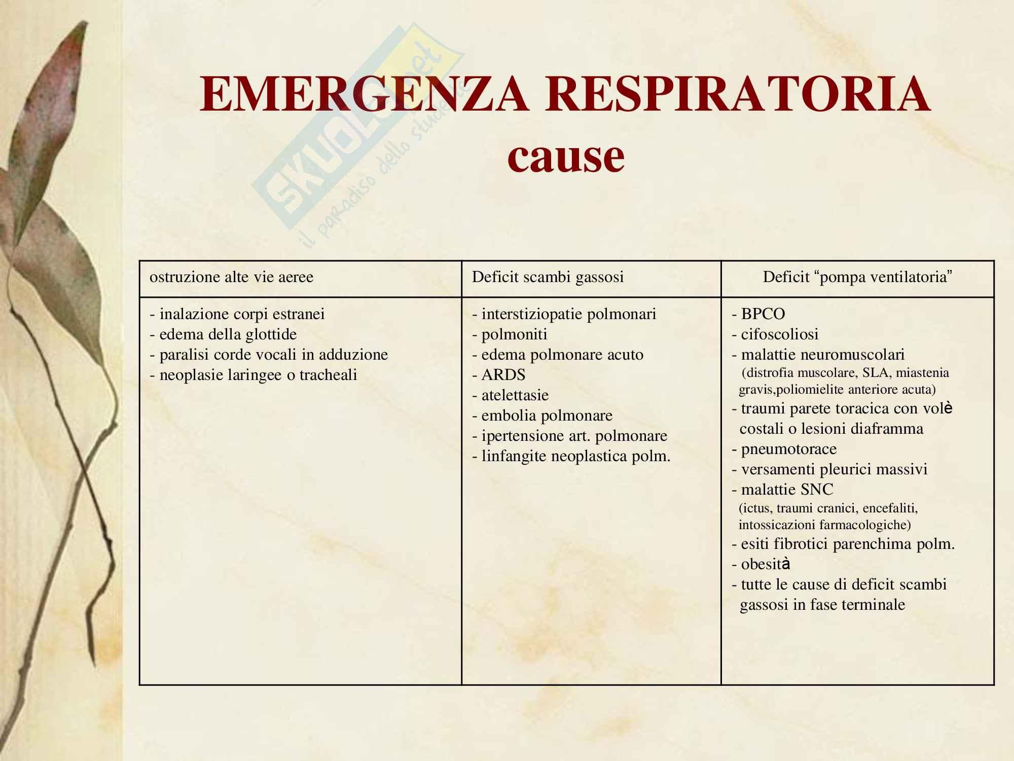 Malattie dell'apparato respiratorio - Emergenza Respiratoria Pag. 2
