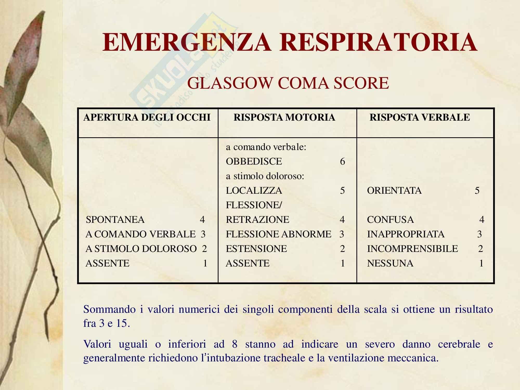 Malattie dell'apparato respiratorio - Emergenza Respiratoria Pag. 6