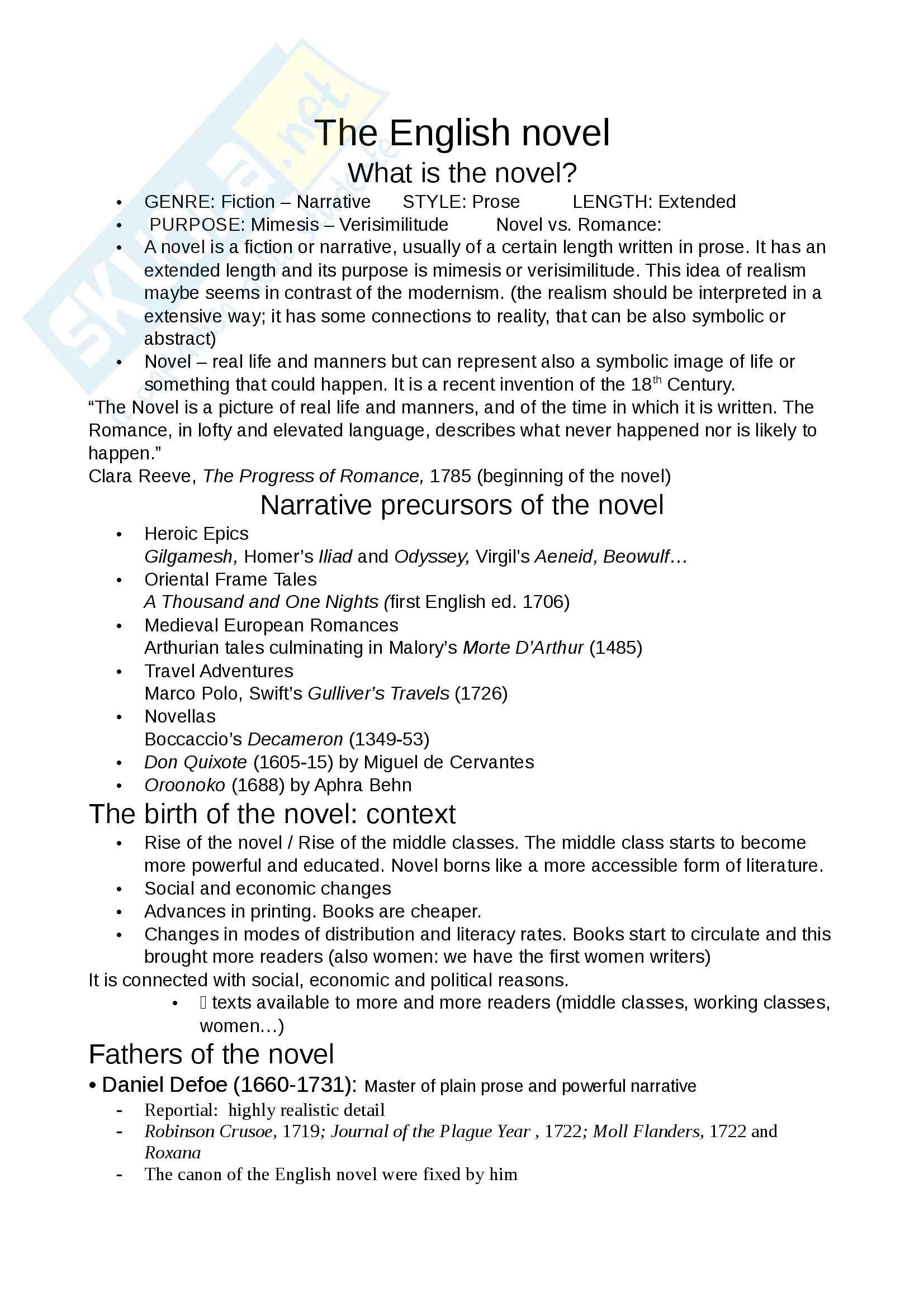Appunti di English Literature 1