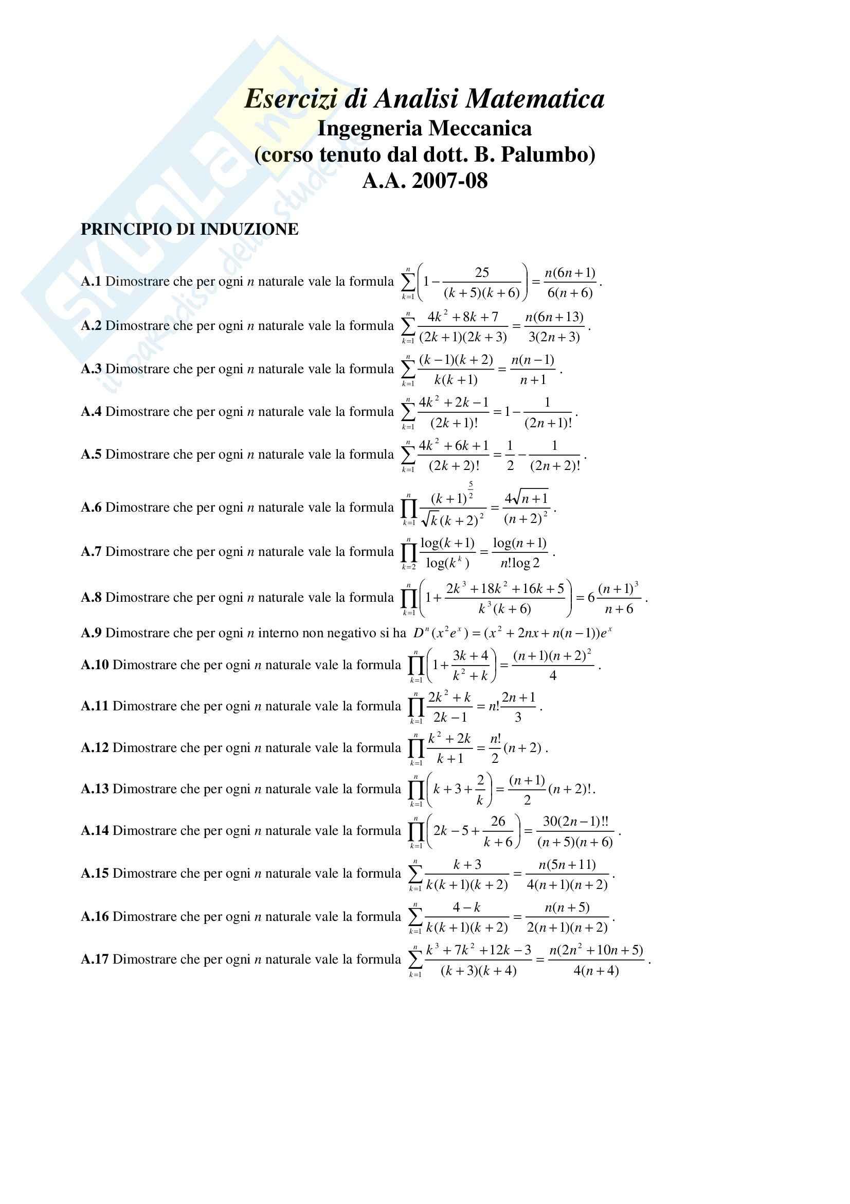 esercitazione B. Palumbo Analisi Matematica