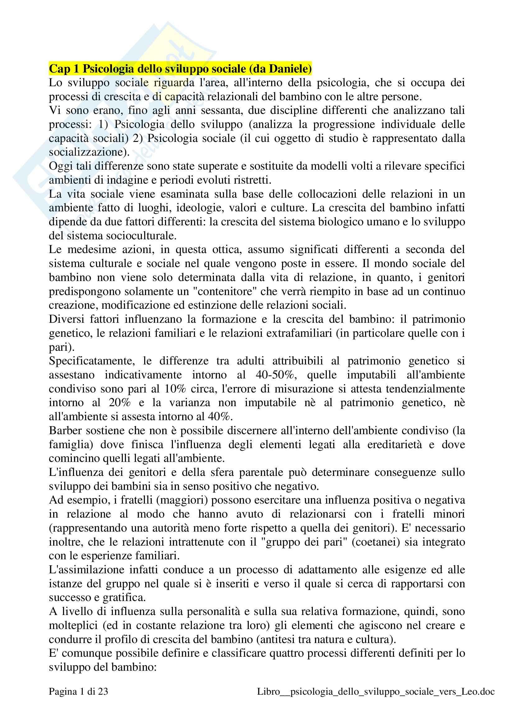 Riassunto esame Psicologia dello sviluppo sociale, prof. Prestano, libro consigliato Psicologia sviluppo sociale, Molinari