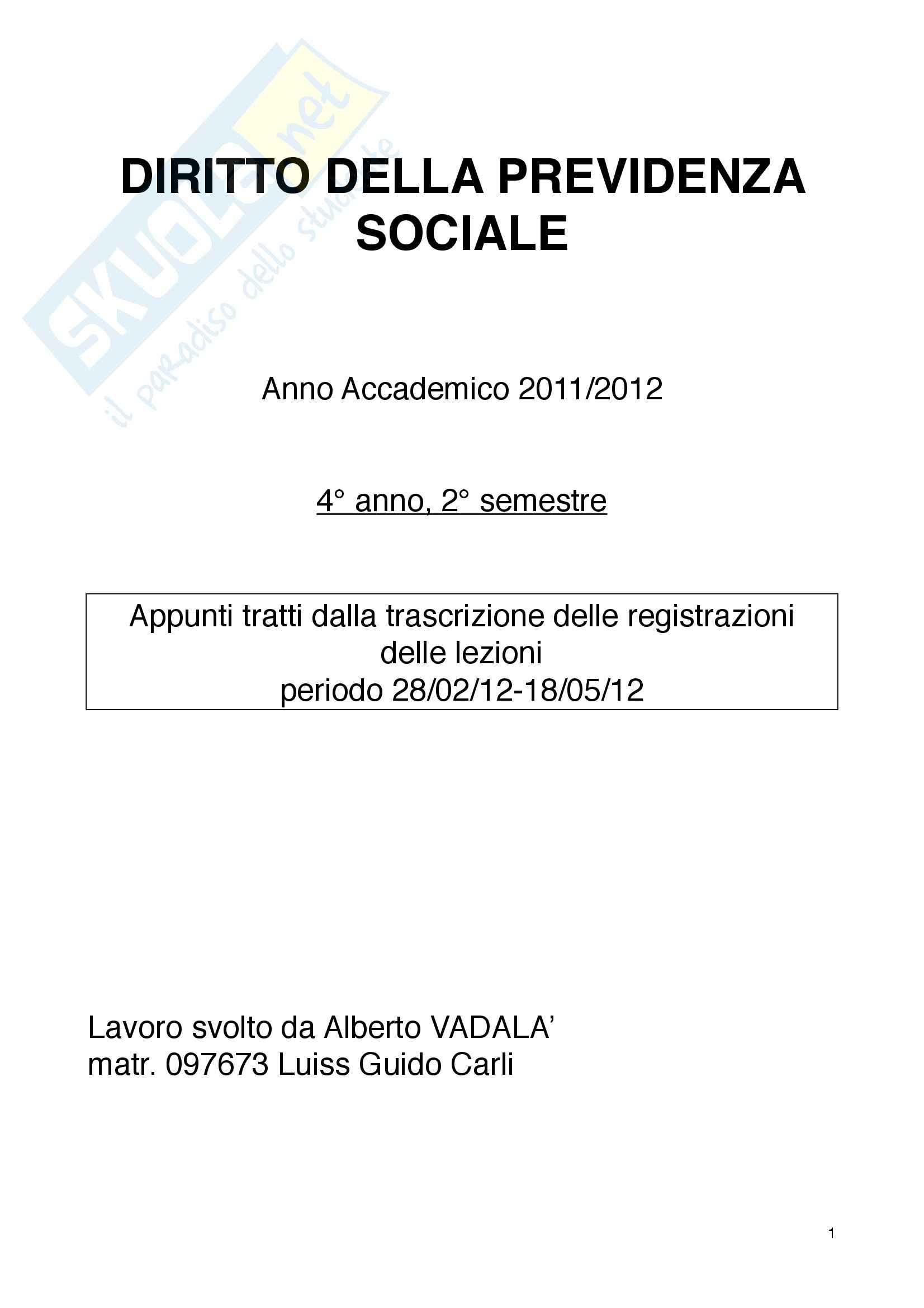 Previdenza sociale - Appunti