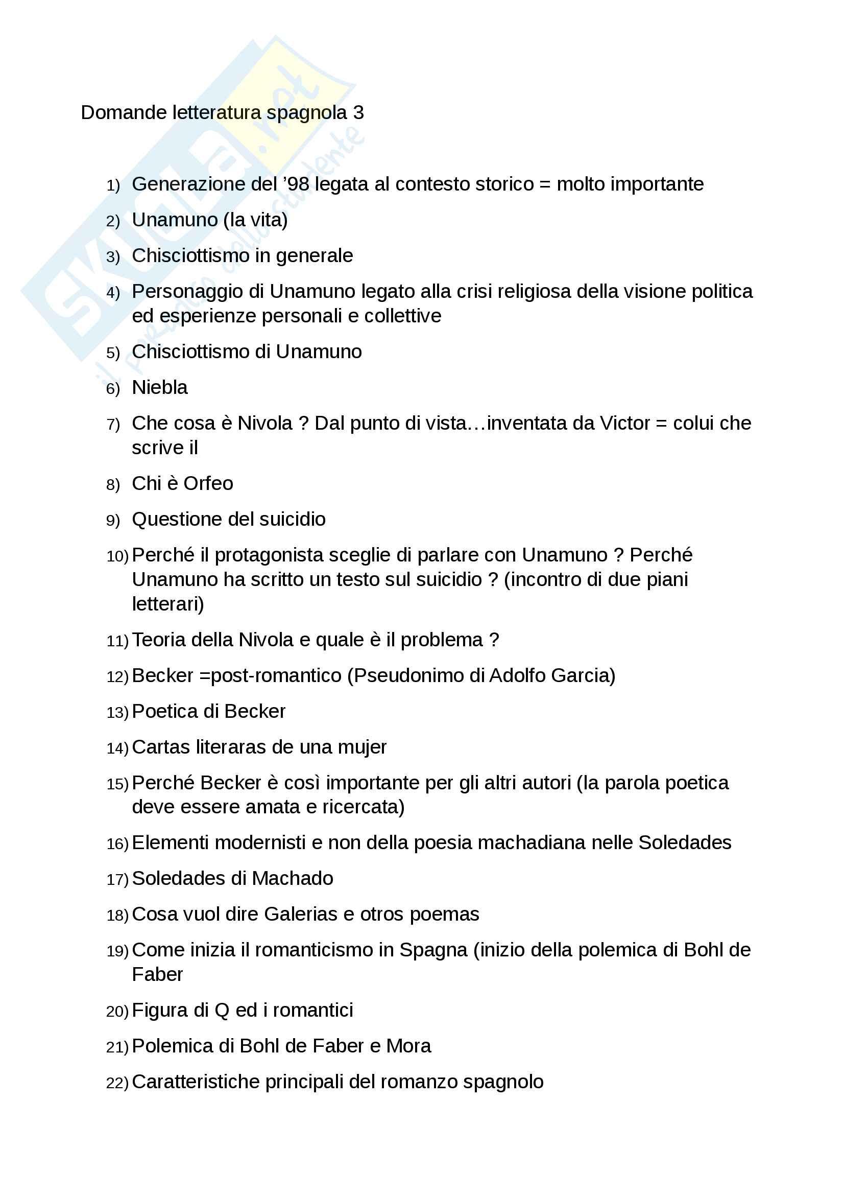 Domande esame letteratura spagnola 3