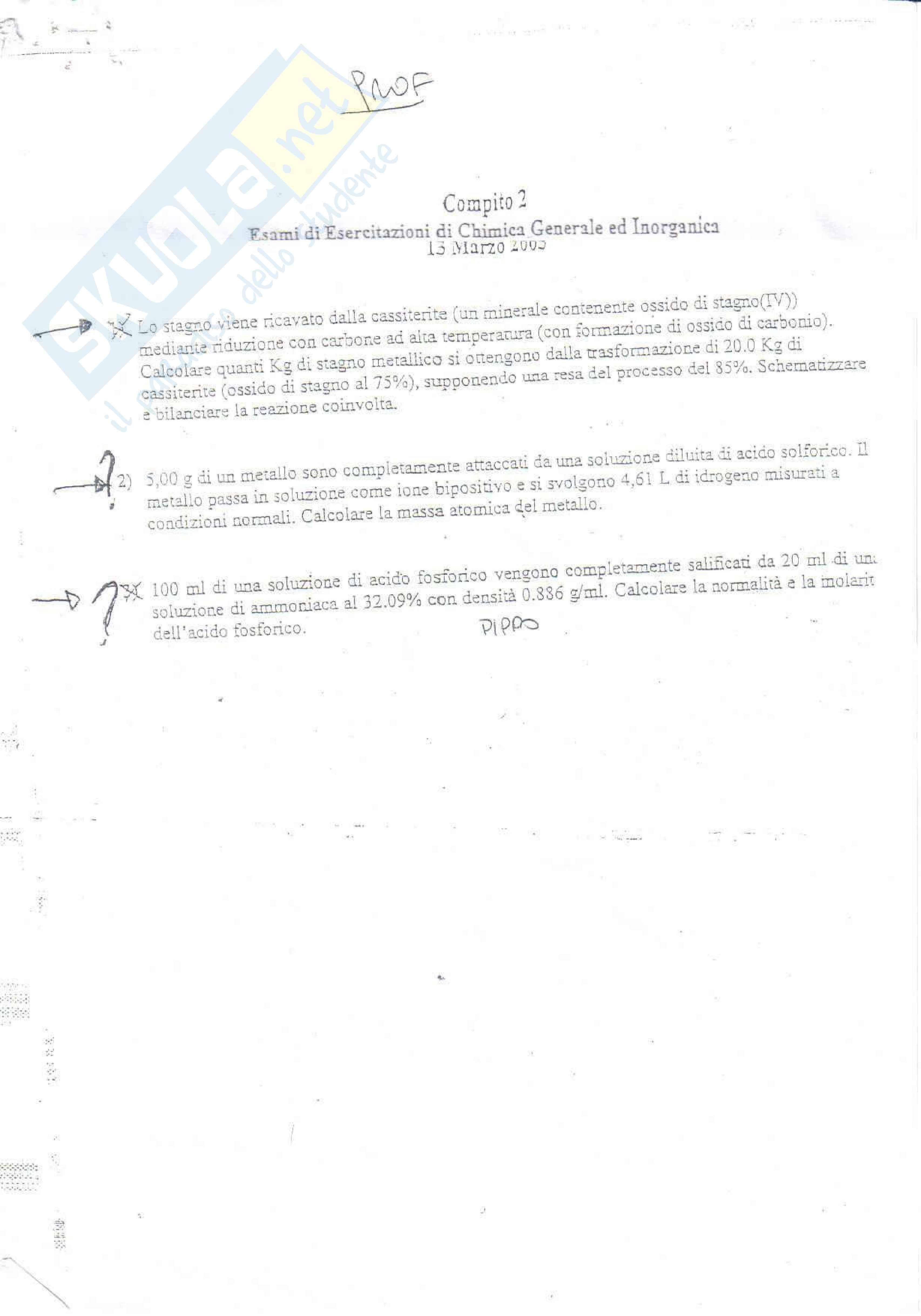 Chimica generale e inorganica - prova marzo 2003