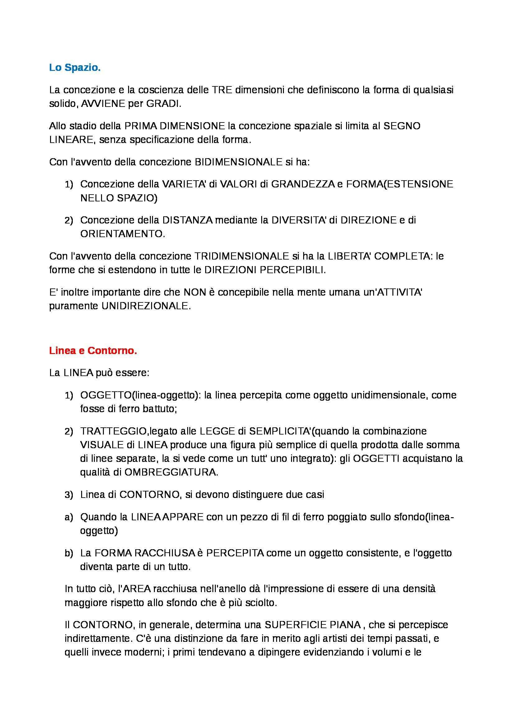 Riassunto esame Percezione e comunicazione visiva, prof. De Michele, libro consigliato Arte e percezione visiva, Arnheim