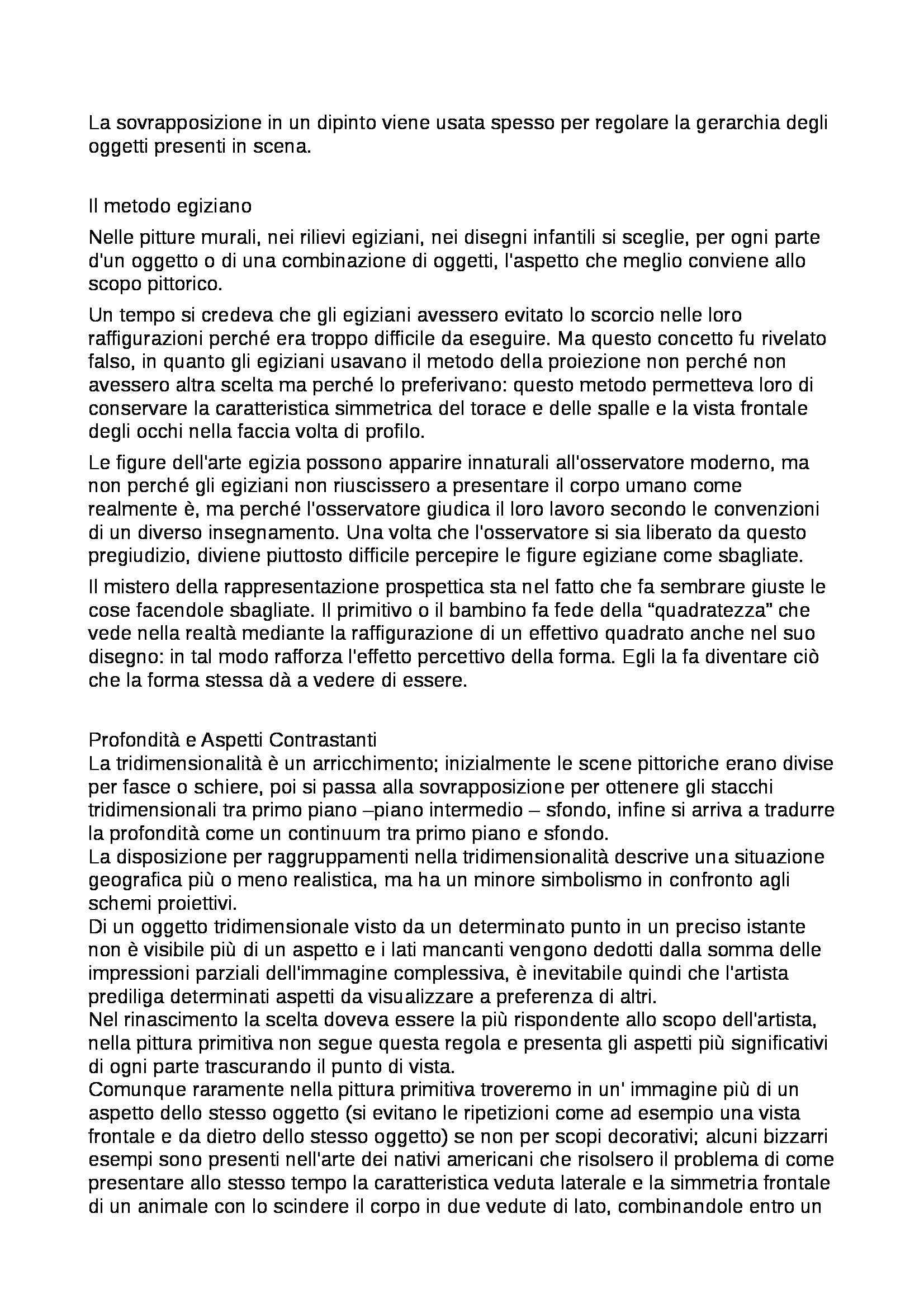 Riassunto esame Percezione e comunicazione visiva, prof. De Michele, libro consigliato Arte e percezione visiva, Arnheim Pag. 21