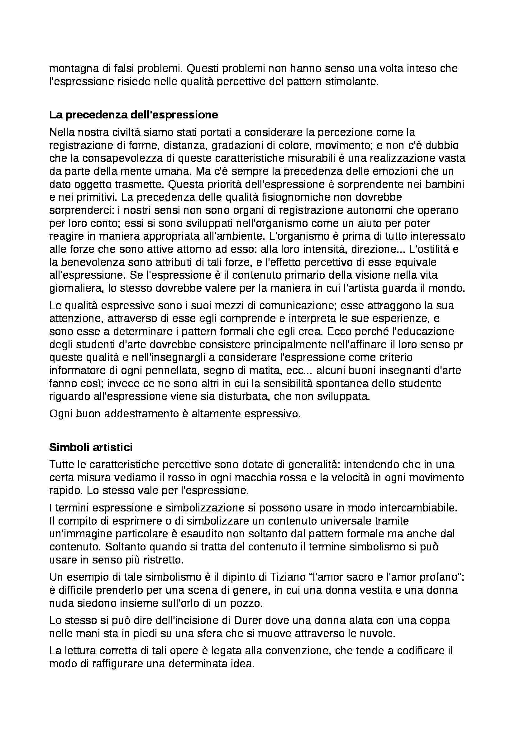 Riassunto esame Percezione e comunicazione visiva, prof. De Michele, libro consigliato Arte e percezione visiva, Arnheim Pag. 41