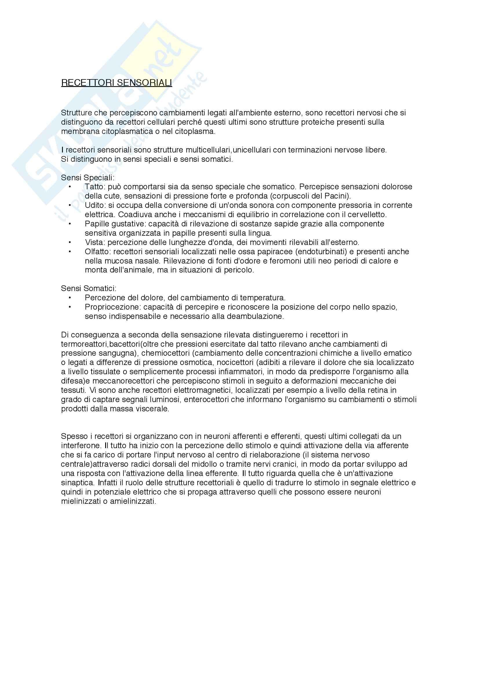 Fisiologia veterinaria - Recettori sensoriali