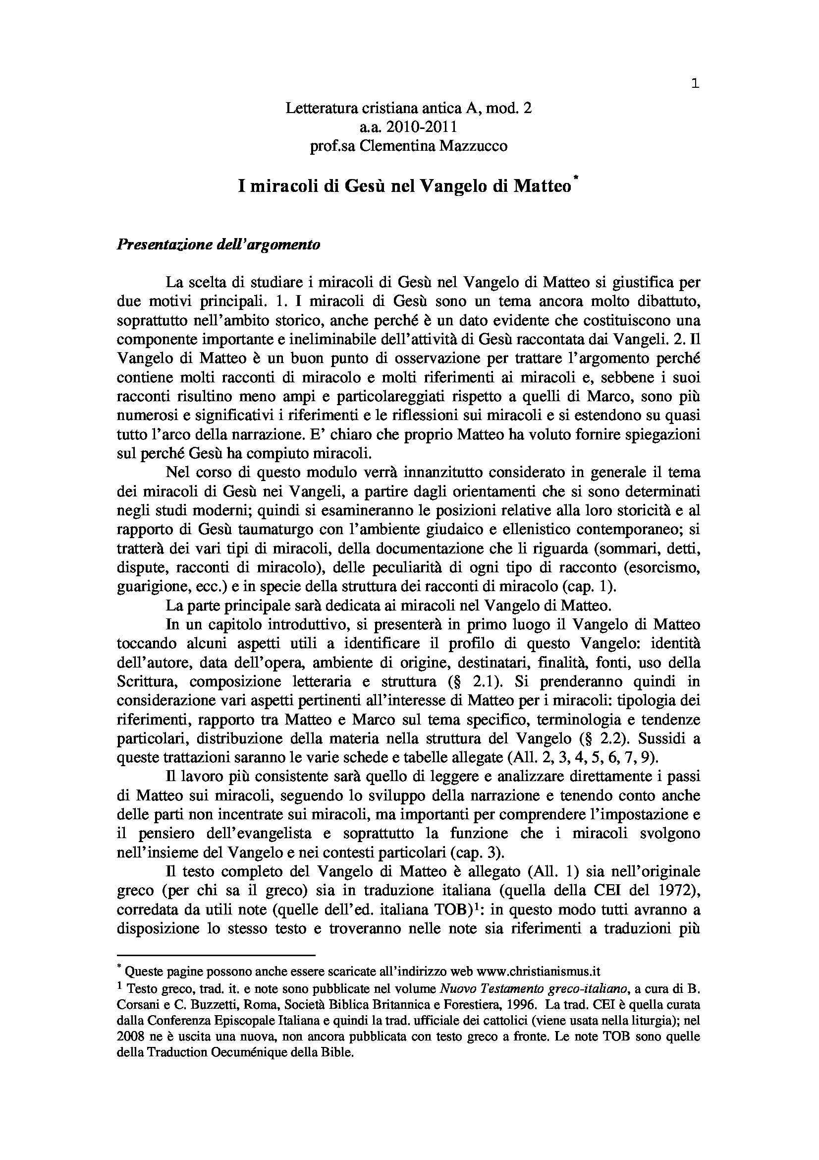 dispensa C. Mazzucco Letteratura cristiana antica A