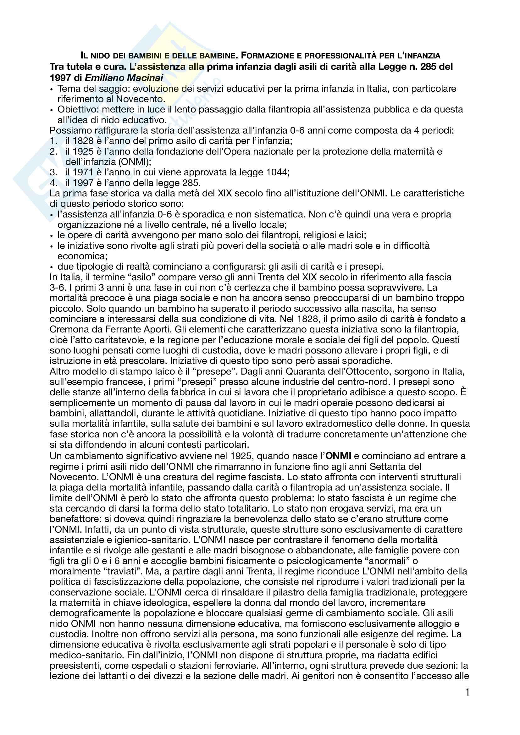 Riassunto esame pedagogia dell'infanzia, prof. Macinai, libro consigliato Il nido dei bambini e delle bambine. Formazione e professionalità per l'infanzia, Macinai