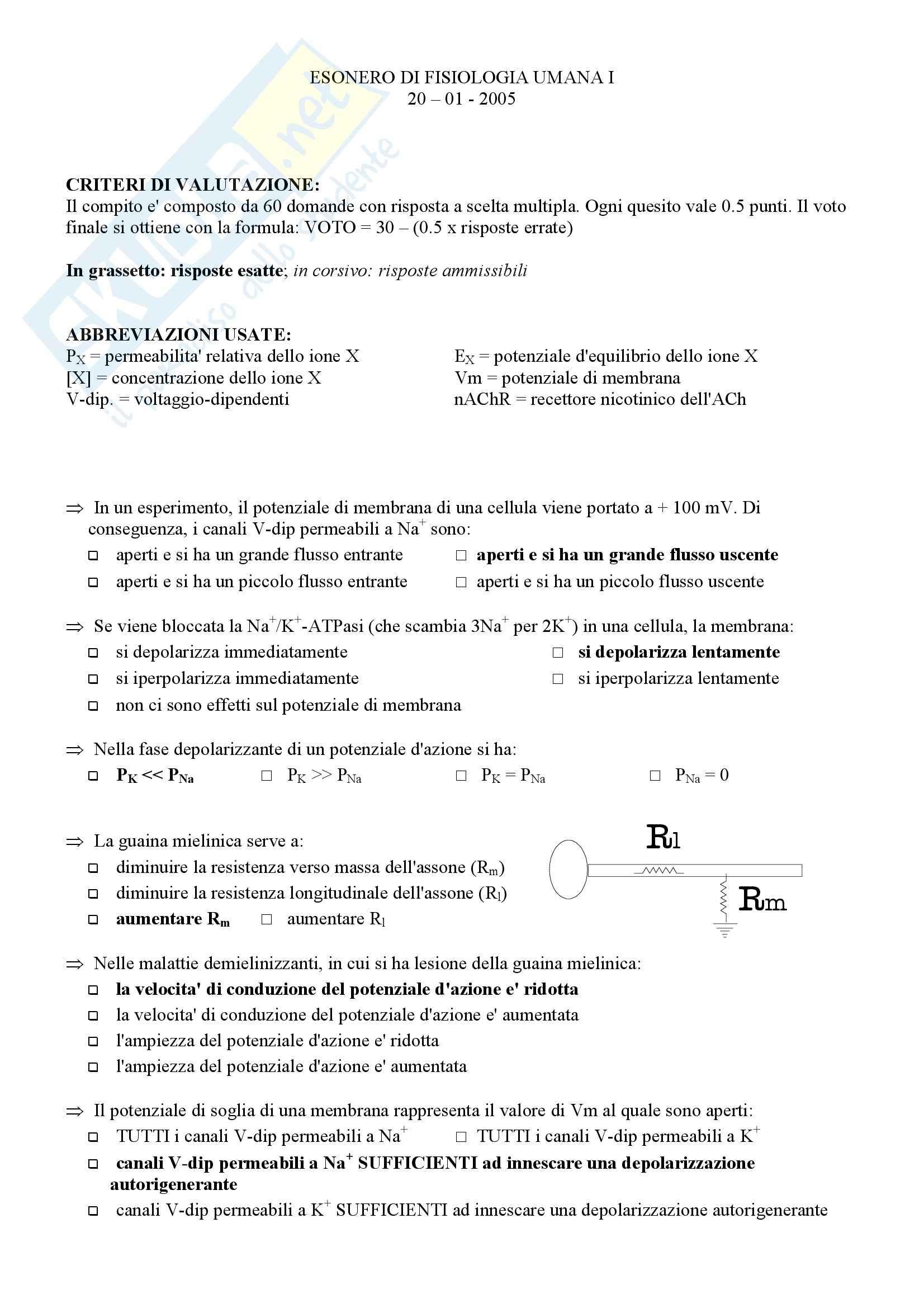Fisiologia umana I - Test 4