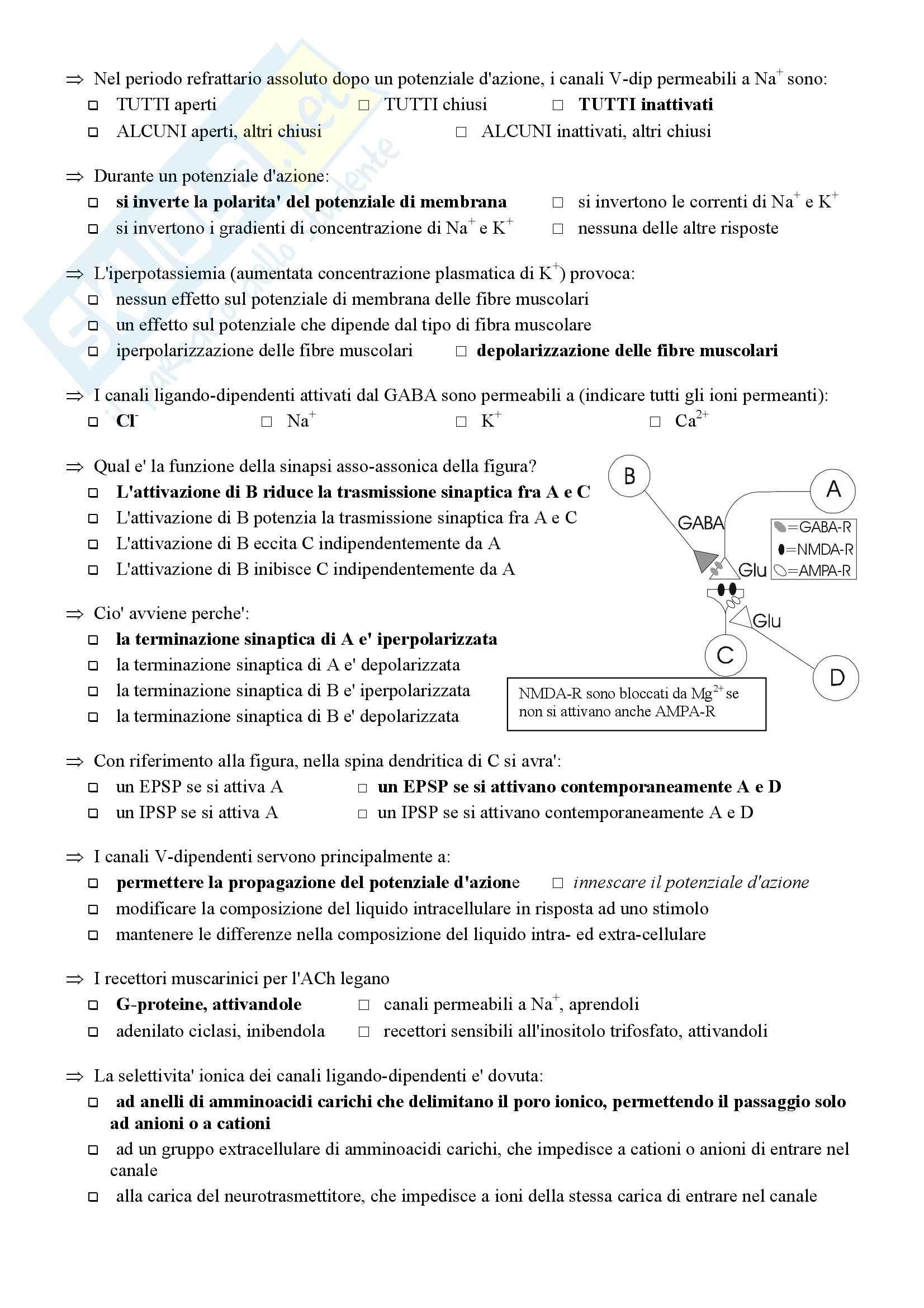 Fisiologia umana I - Test 4 Pag. 2
