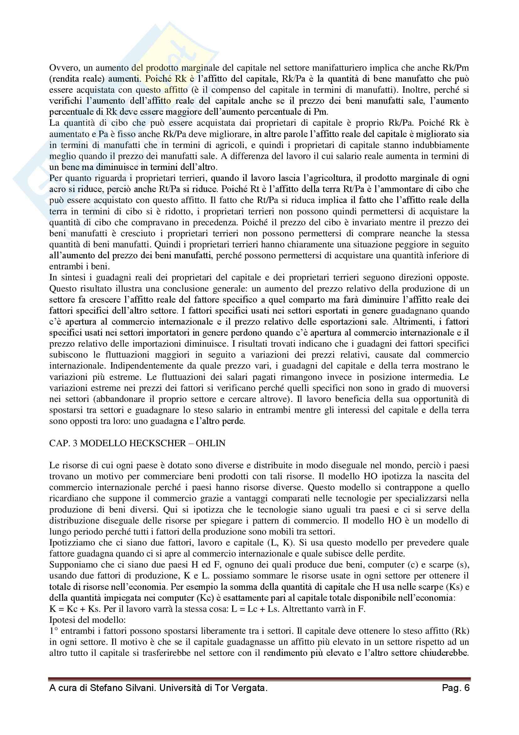Riassunto esame Economia Internazionale, prof. Quintieri, libro consigliato Economia Internazionale di Taylor Pag. 6