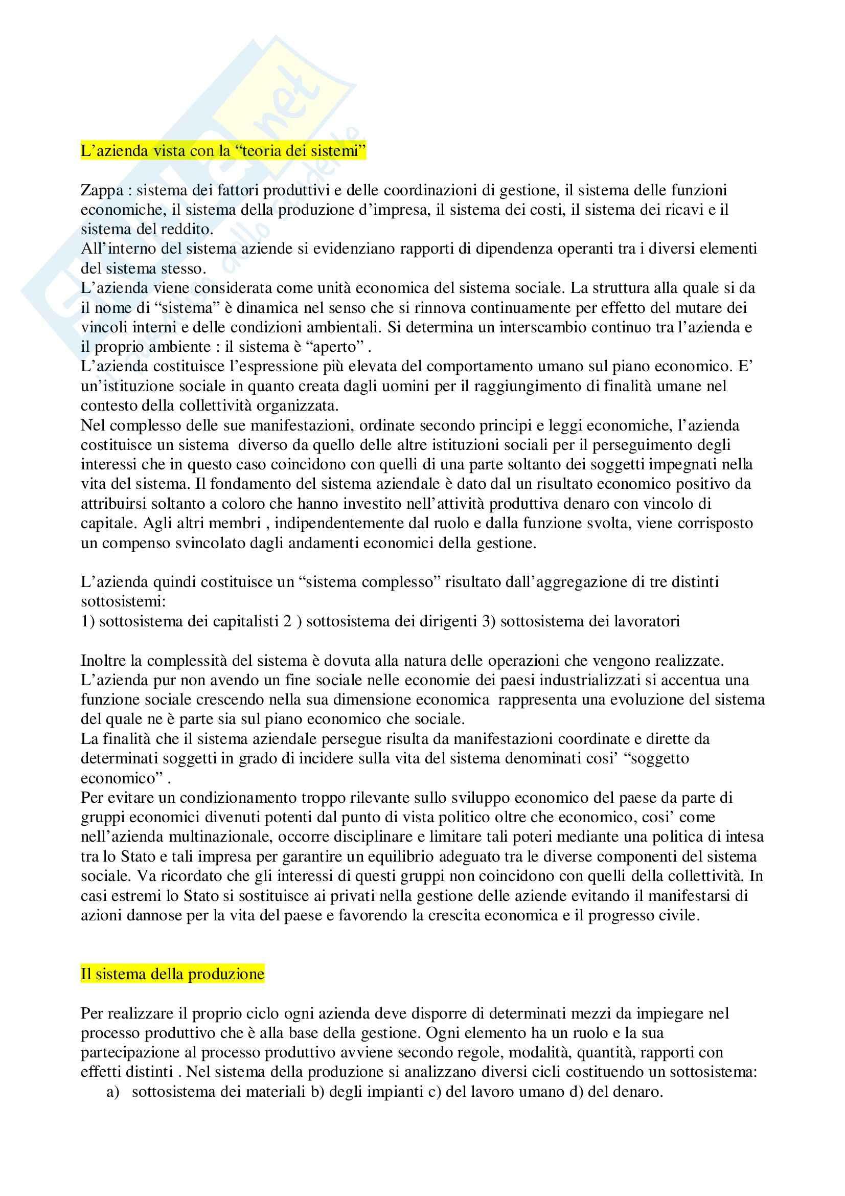 Riassunto esame Economia aziendale, prof. Poselli, libro consigliato Il sistema d'azienda, Bertini