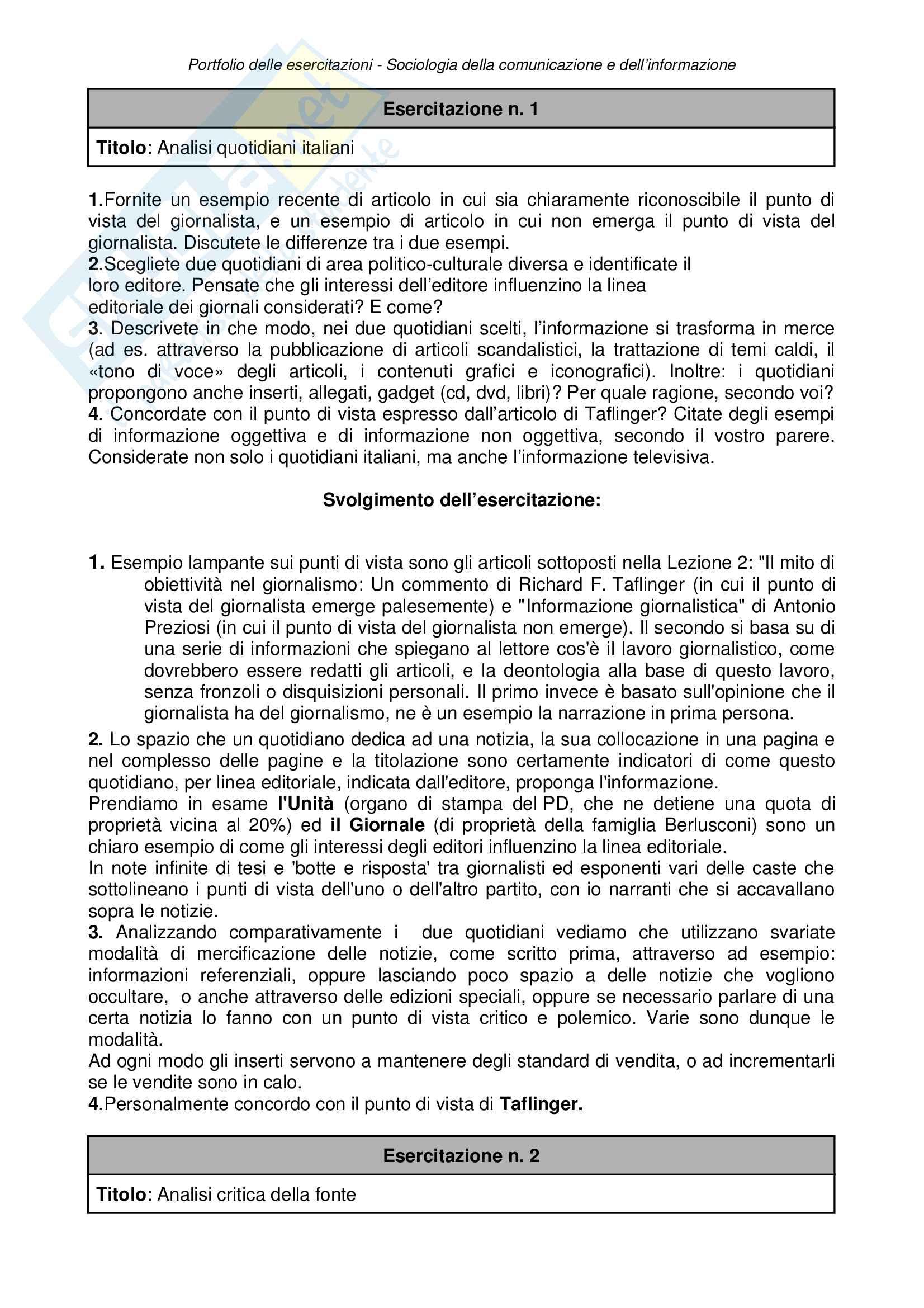 Esercitazioni Sociologia Pag. 2