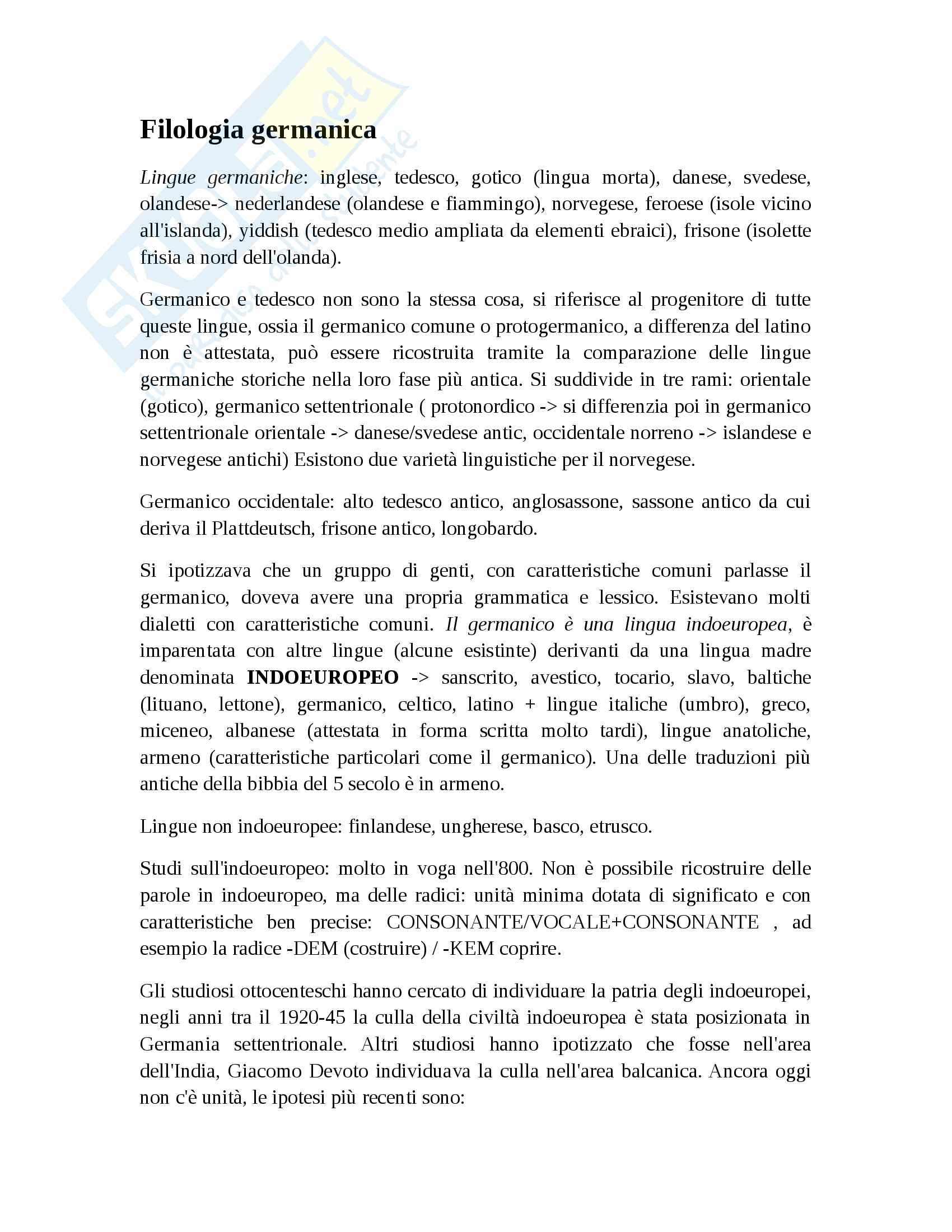 Filologia germanica appunti lezione Pag. 1