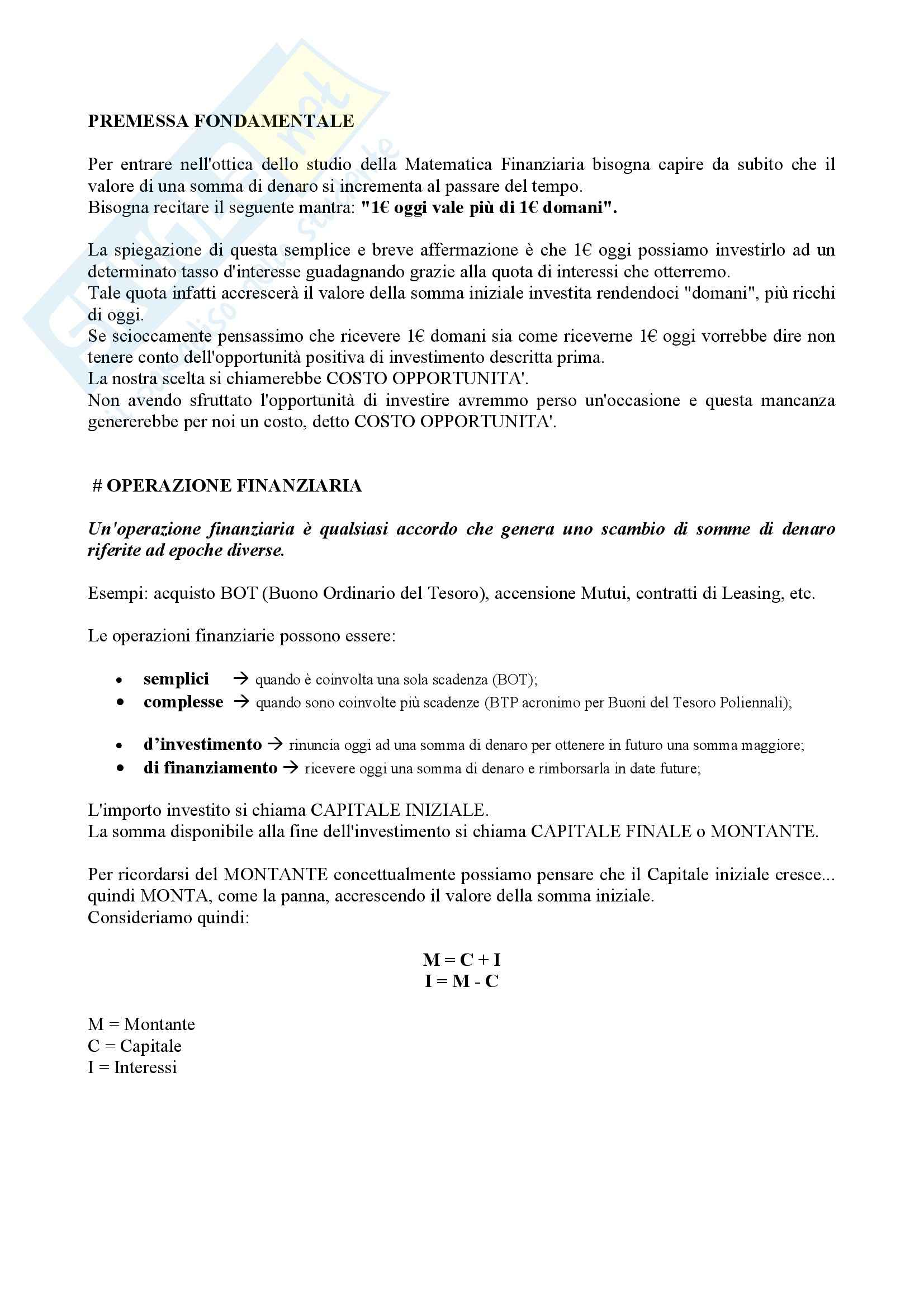 Lezioni, Matematica finanziaria