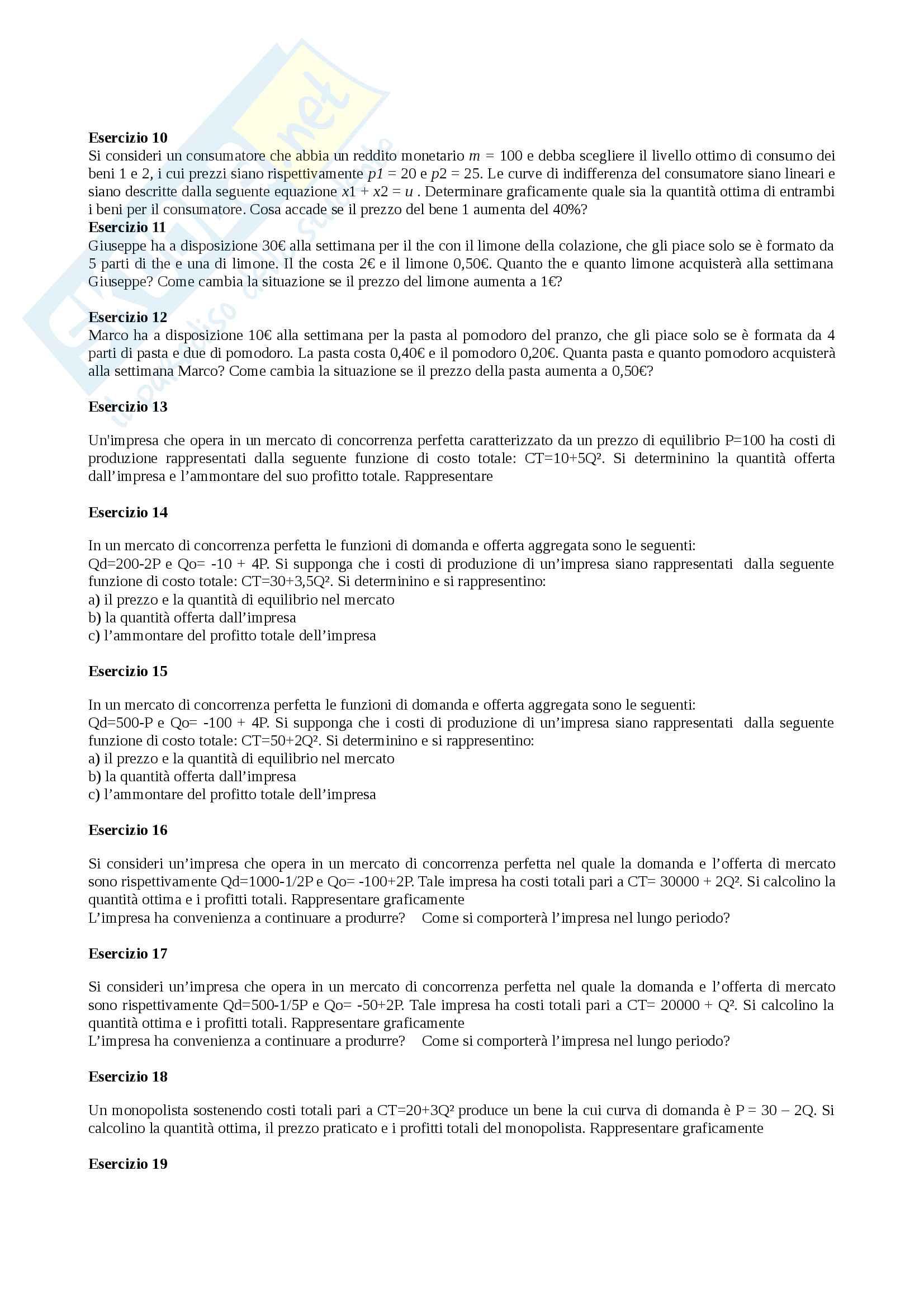 Esercizi economia politica (Merzoni - con soluzioni) Pag. 2