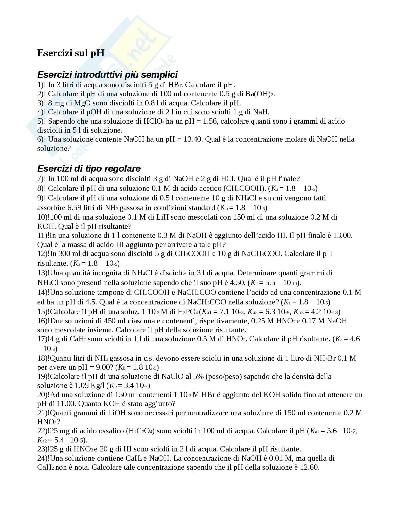 Esercizi sul pH Pag. 1