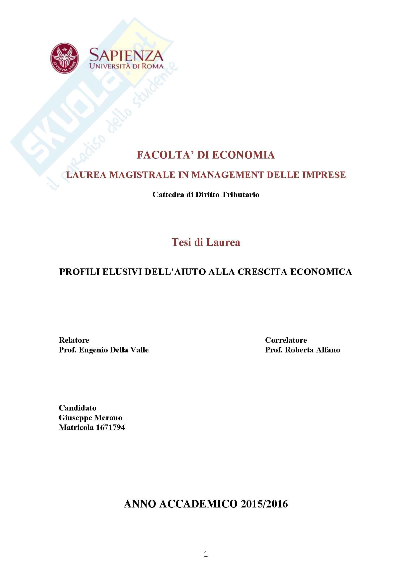 Tesi: I Profili elusivi dell'aiuto alla crescita economica