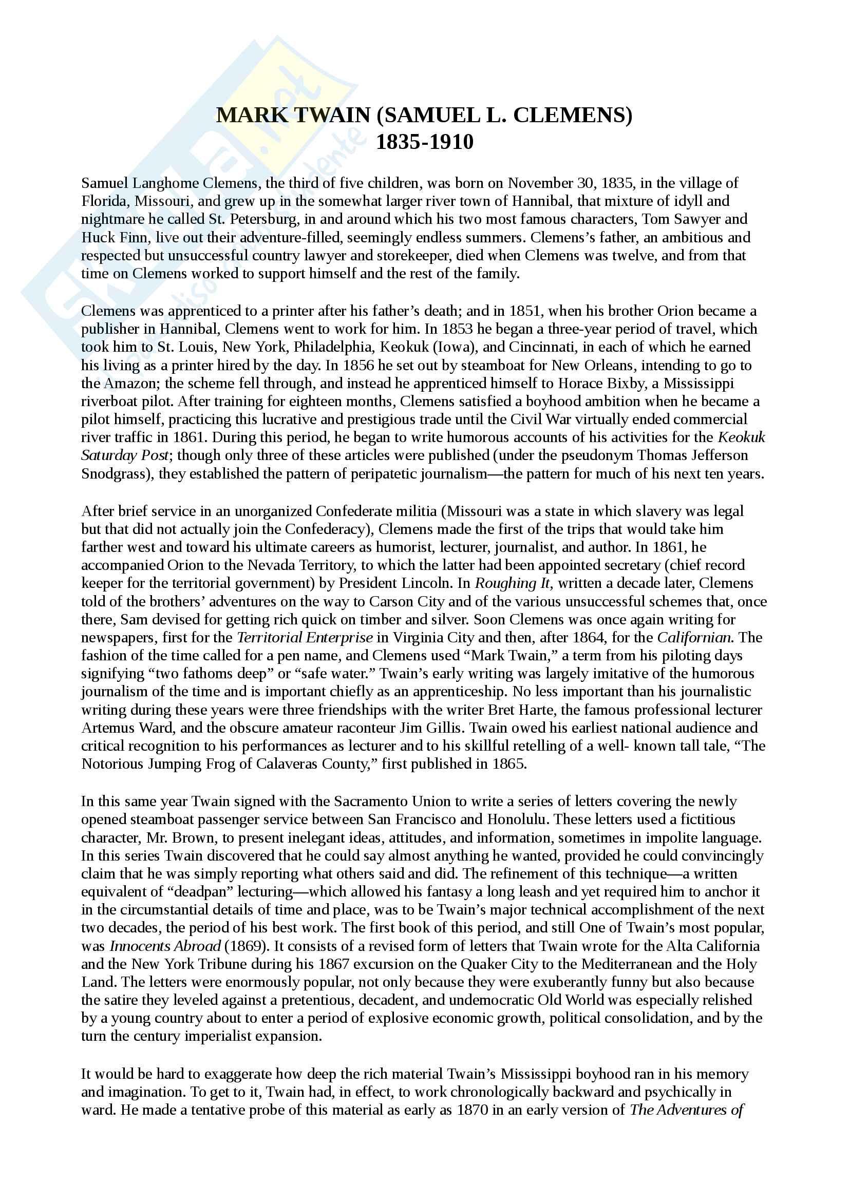 """Riassunto esame Letteratura Angloamericana 2, professor Martinez, libro consigliato """"Norton Anthology"""""""