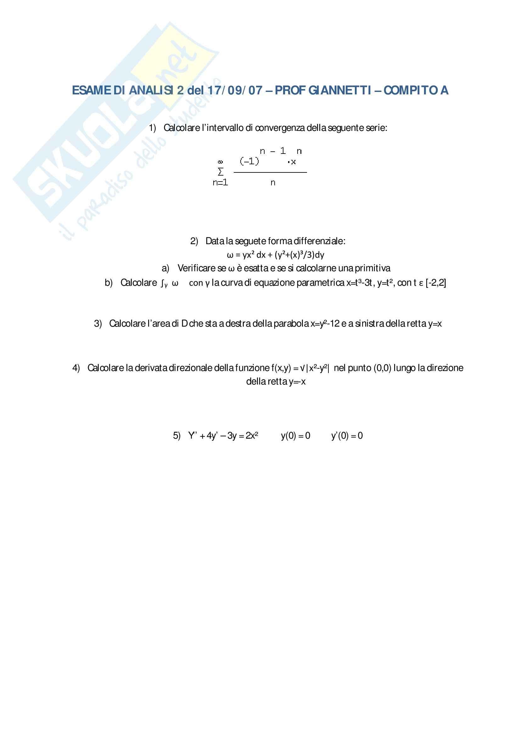 esercitazione F. Giannetti Analisi matematica II