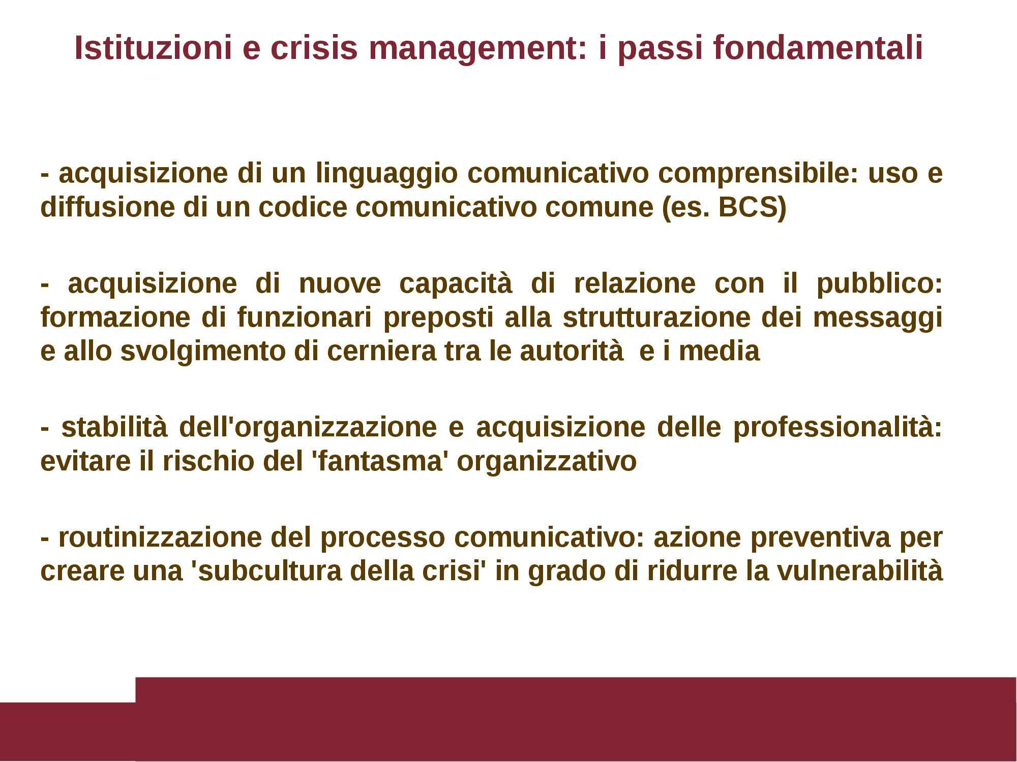 Comunicazione di emergenza e rischio