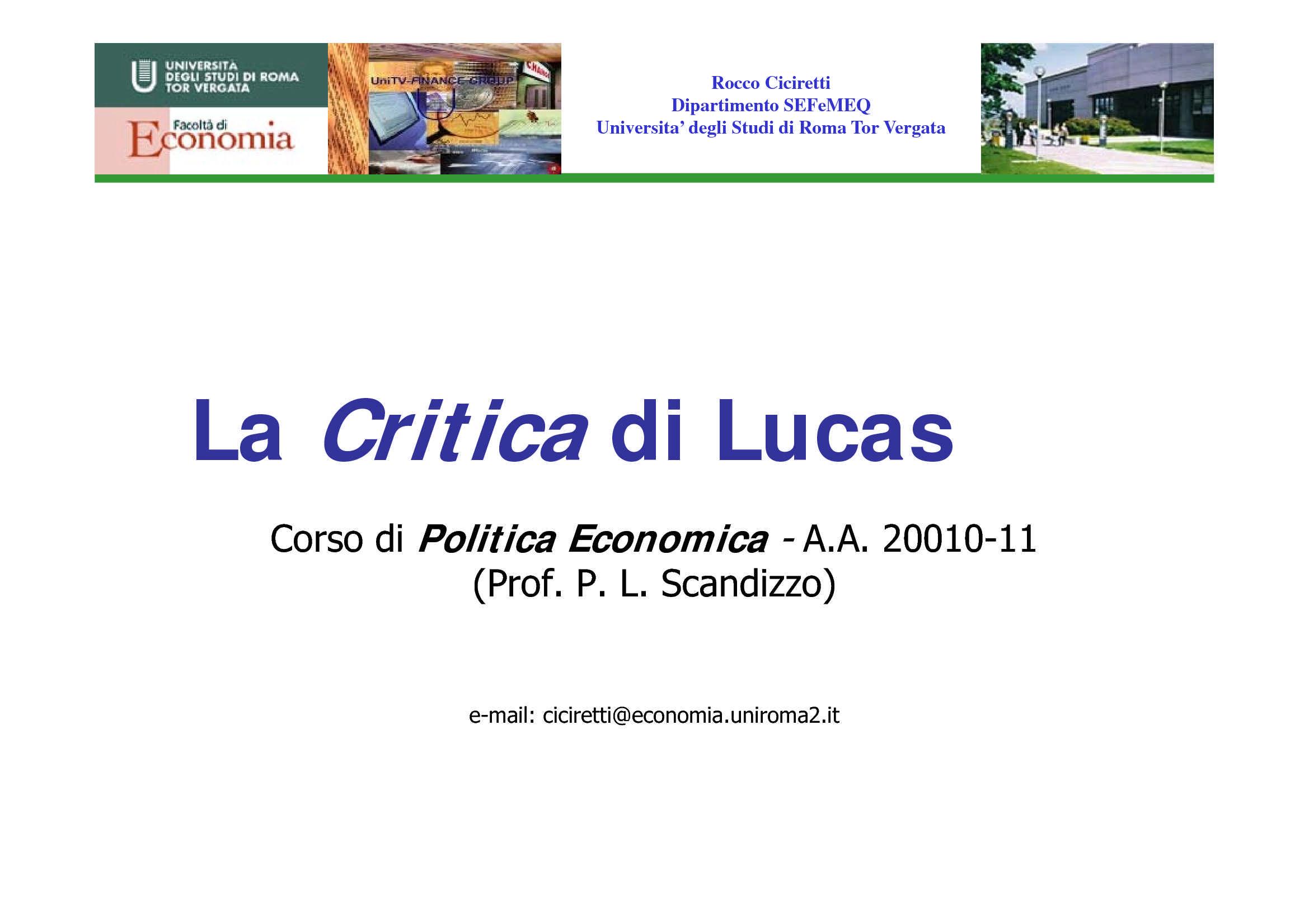 Critica di Lucas