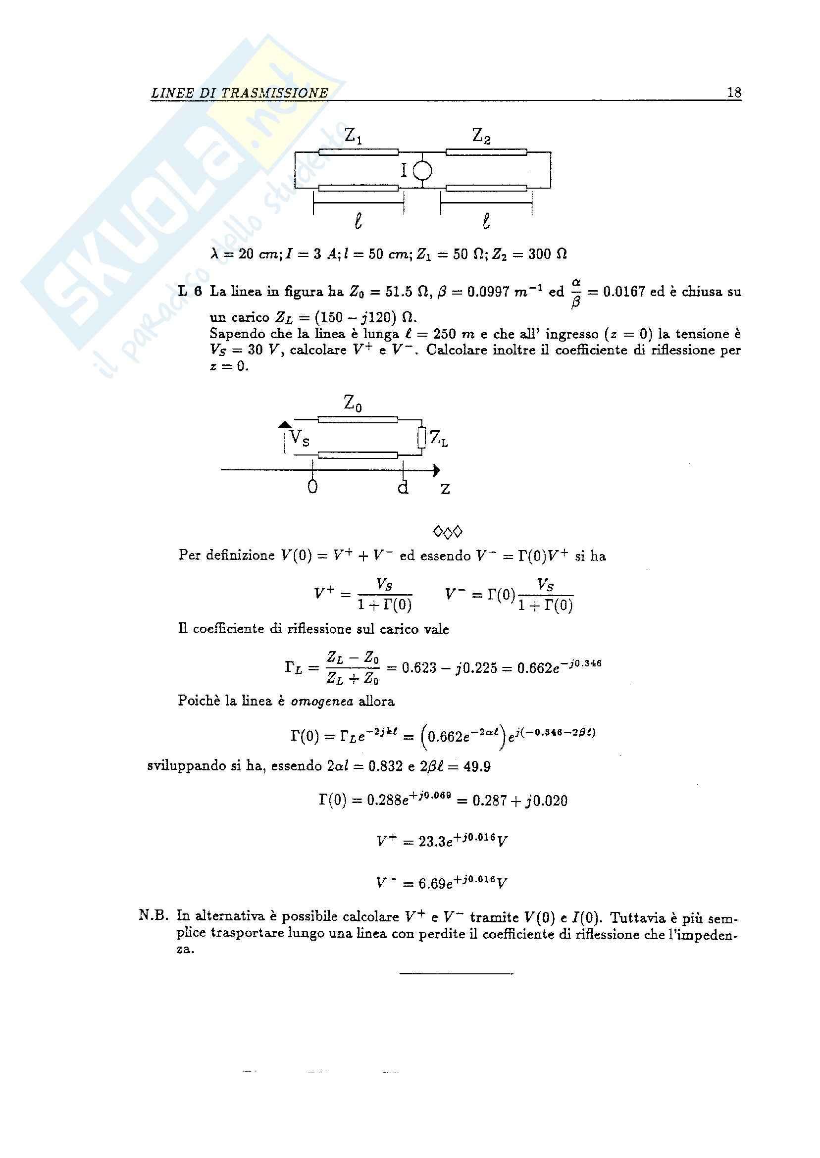 Linee di trasmissione - Esercizi Pag. 6