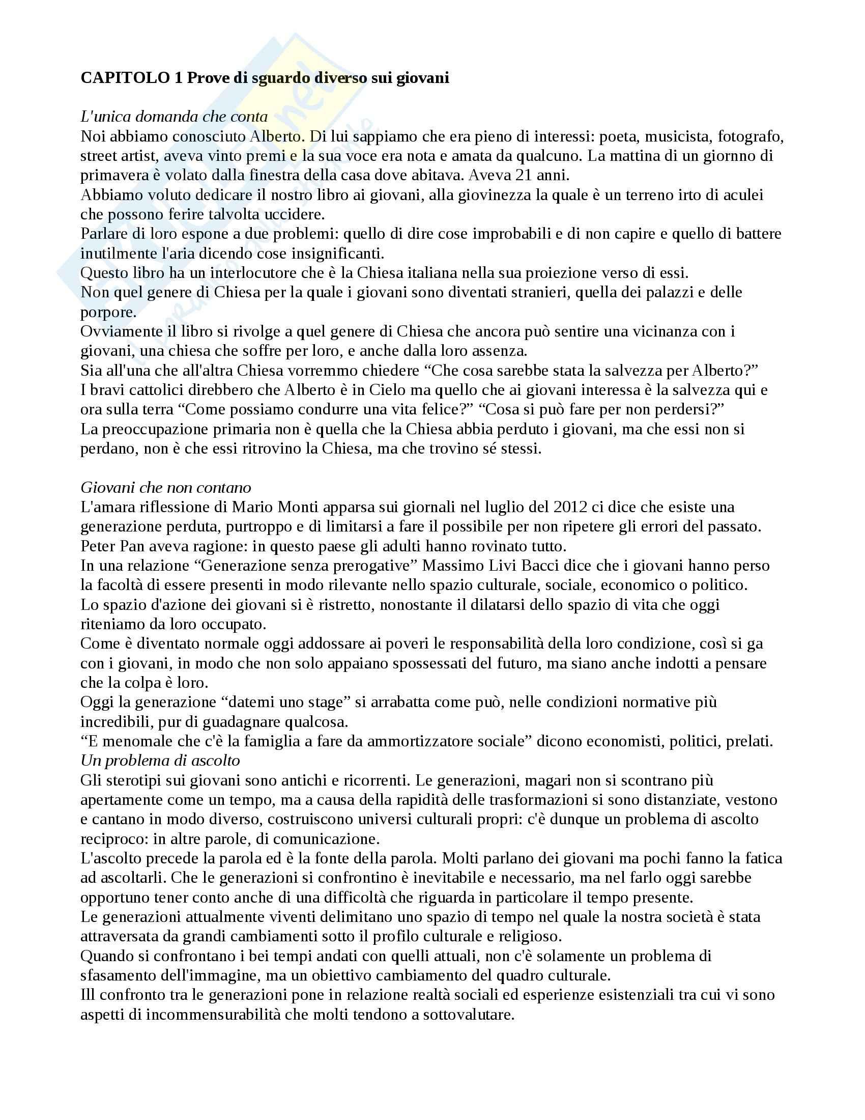 Riassunto esame Sociologia generale, prof. Marzano, libro consigliato Fuori dal recinto, Castegnaro
