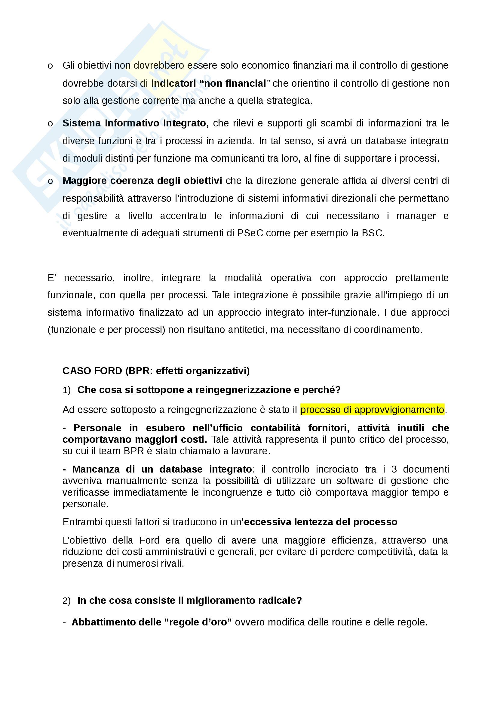 Organizzazione aziendale e gestione dei processi (Casi svolti in aula) Pag. 2