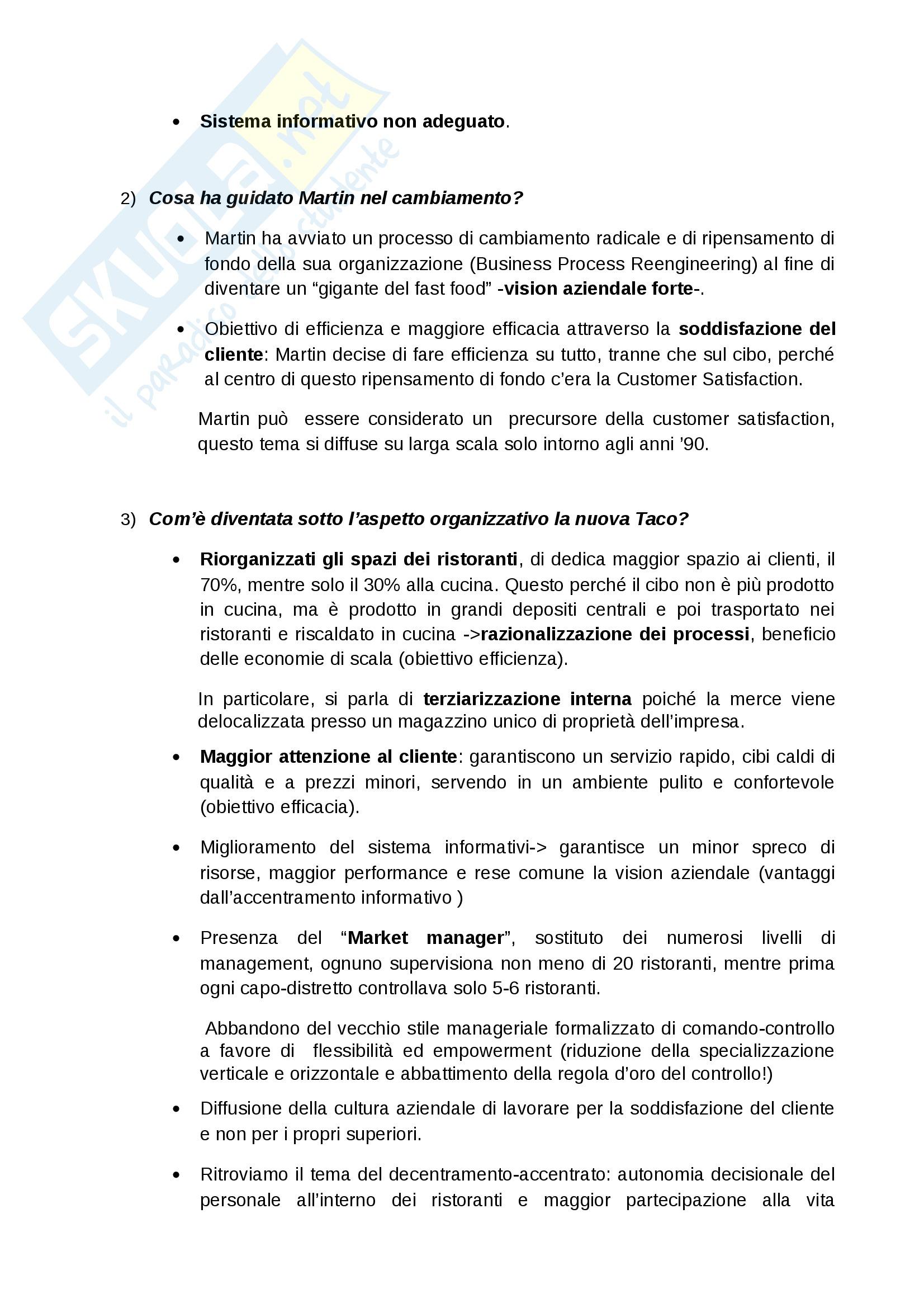 Organizzazione aziendale e gestione dei processi (Casi svolti in aula) Pag. 6