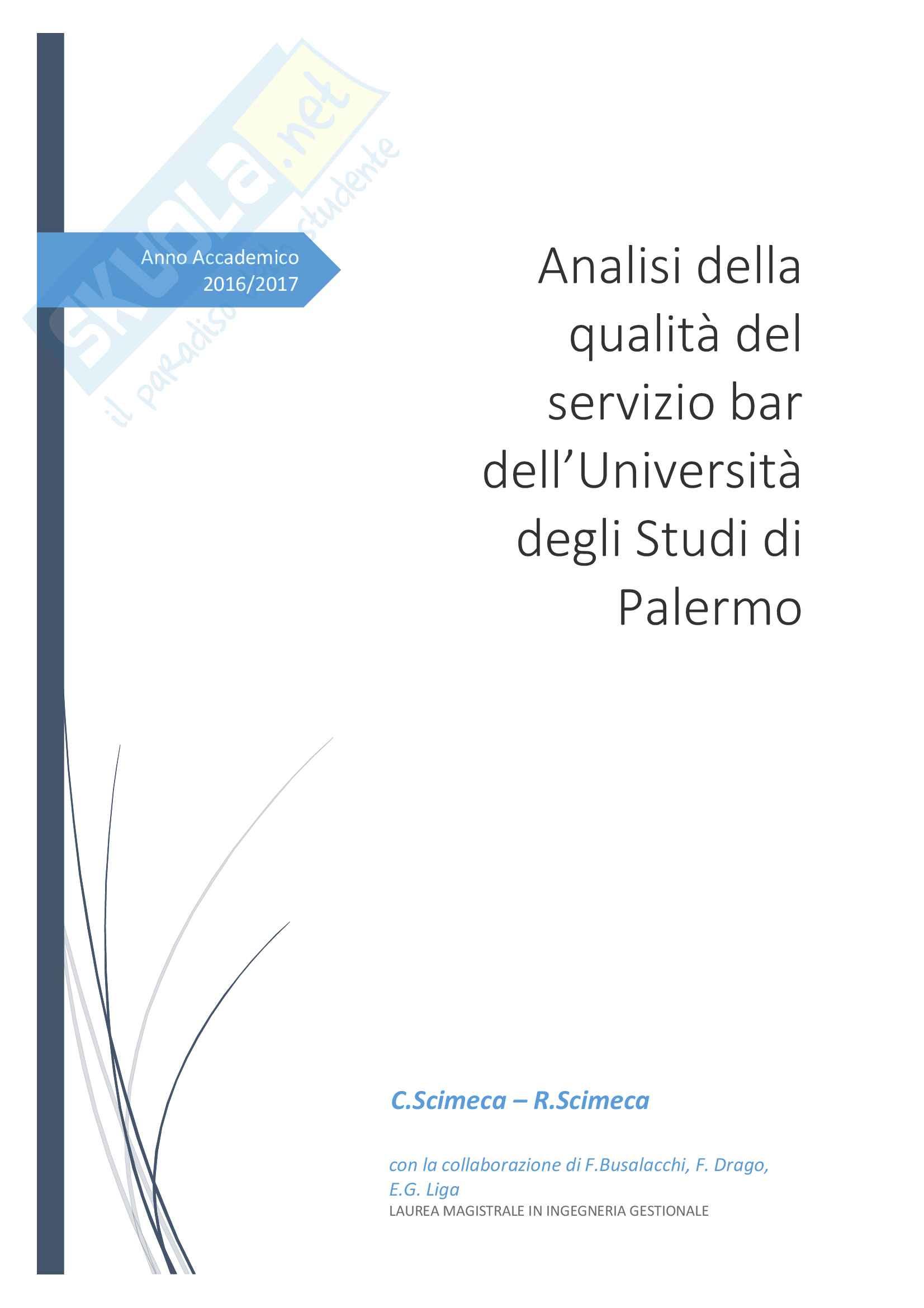 Analisi della qualità del servizio bar dell'Università degli Studi di Palermo