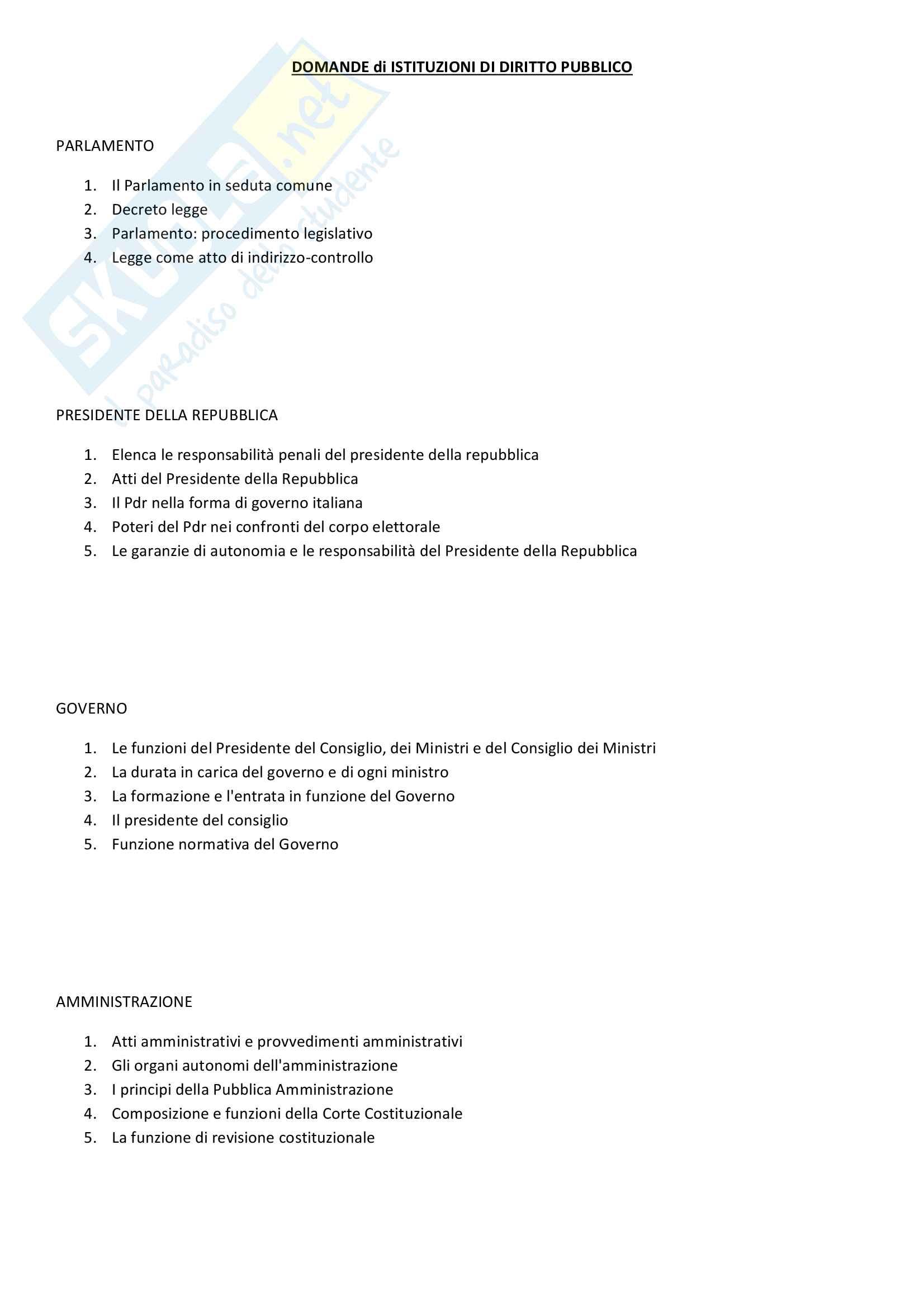 Domande Frequenti - Istituzioni di Diritto Pubblico